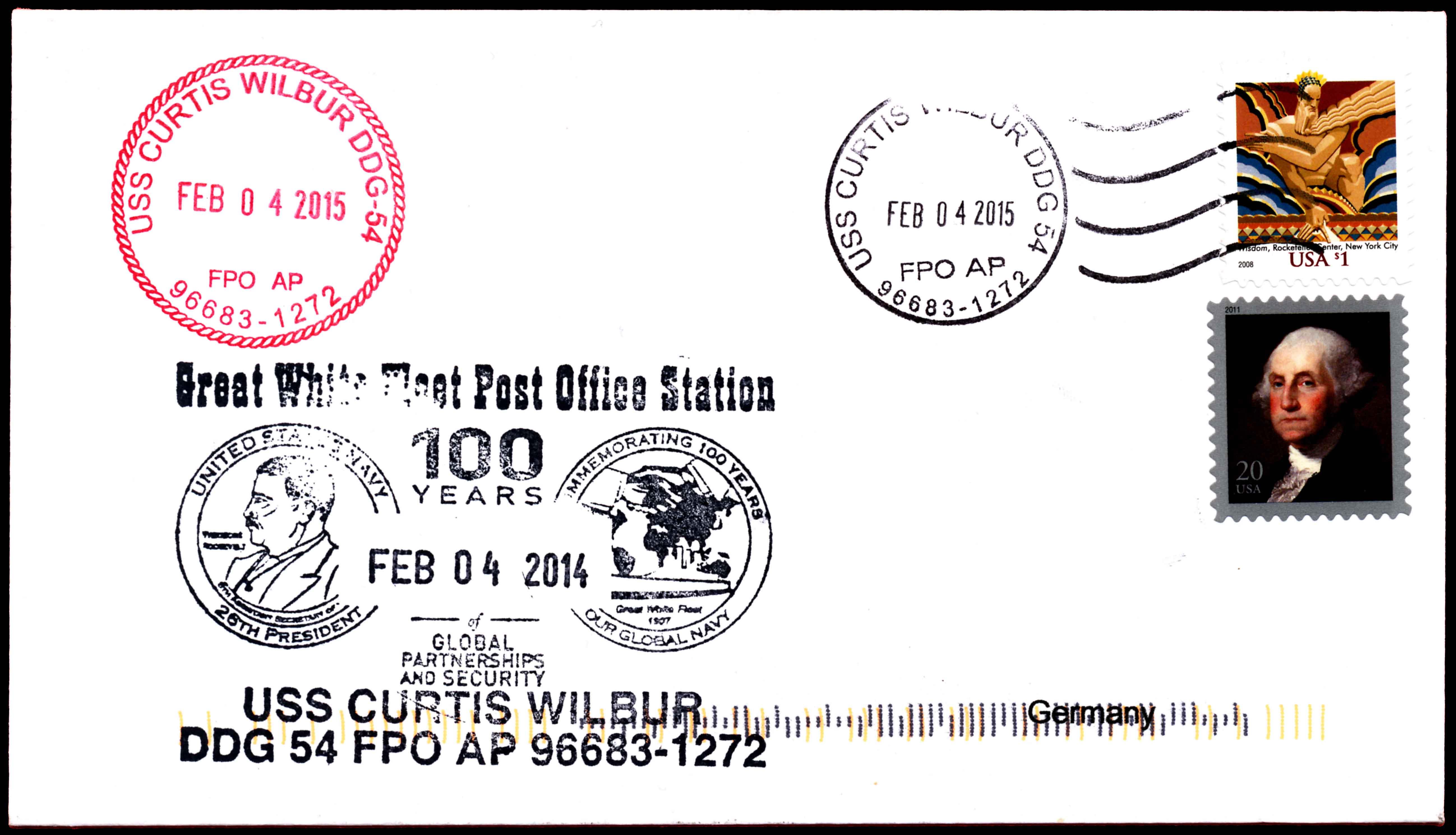 Beleg USS CURTIS WILBUR DDG-54 vom 04.02.2015 von Wolfgang Hechler