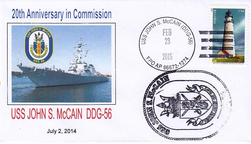 Beleg USS JOHN S. McCAIN DDG-56 20 Jahre im Dienst mit falschem Datum