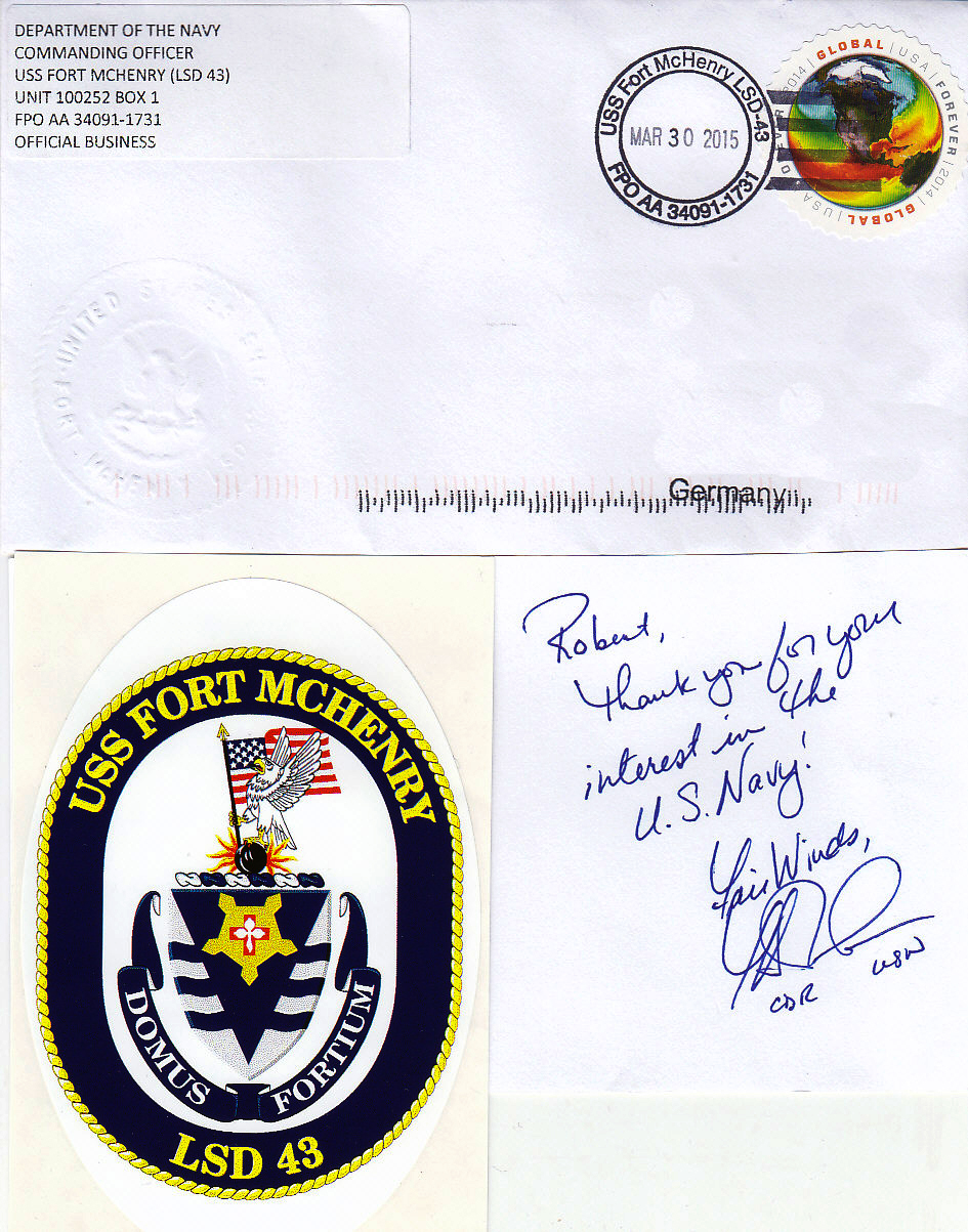 Beleg USS FORT McHENRY LSD-43 vom 30.03.2015