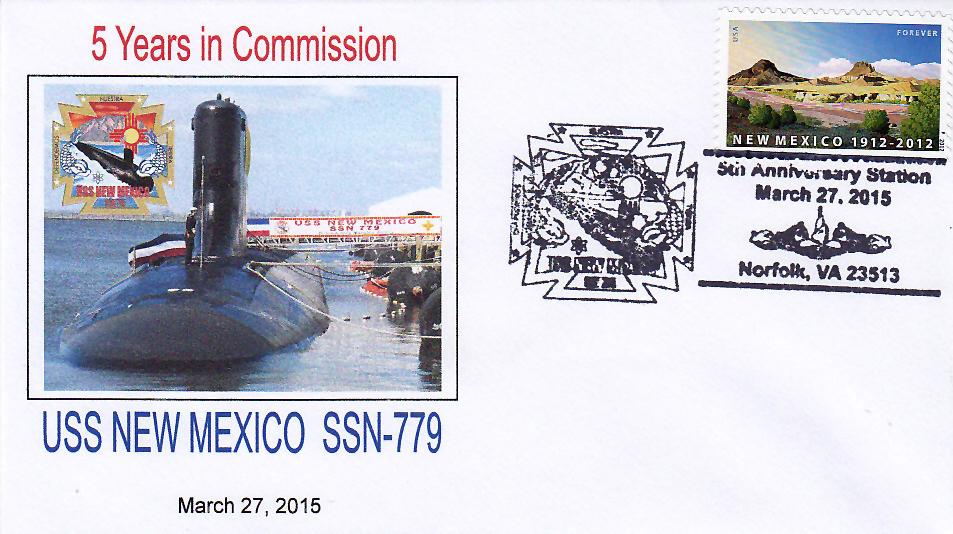 Beleg USS NEW MEXICO SSN-779  5 Jahre im Dienst