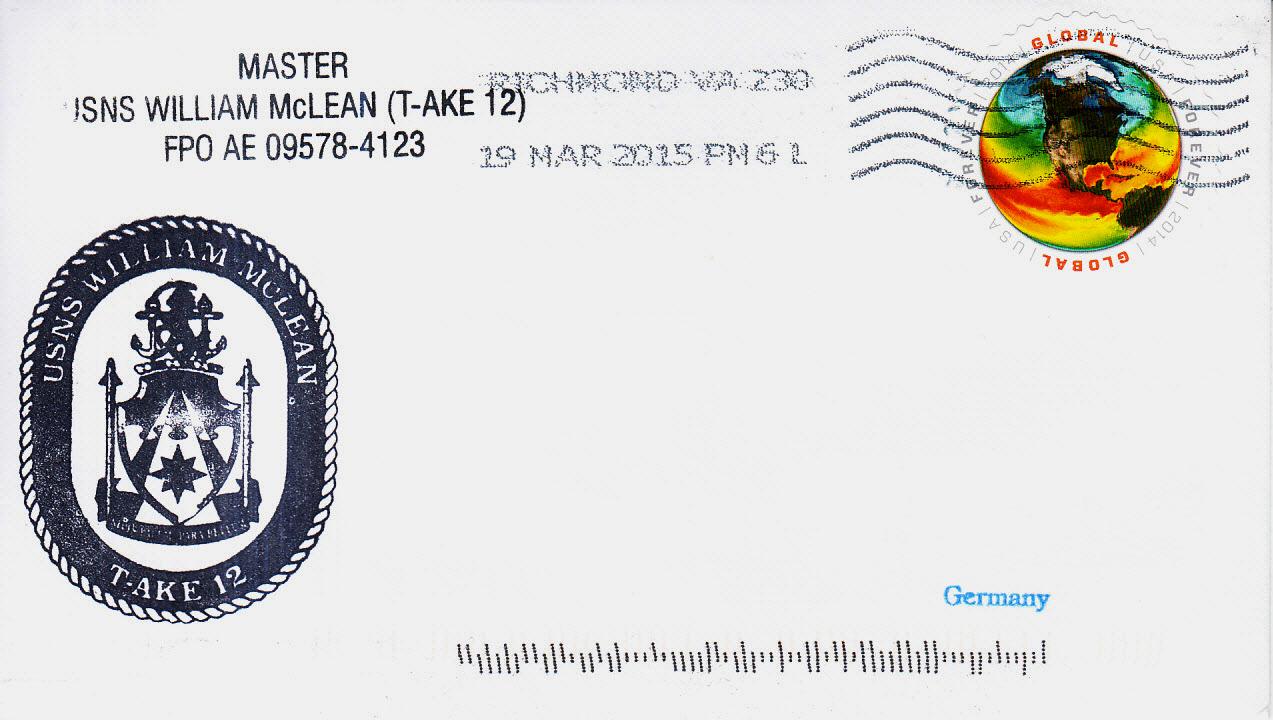 Beleg USNS WILLIAM McLEAN T-AKE 12 vom 19.03.2015 von Karl Friedrich Weyland