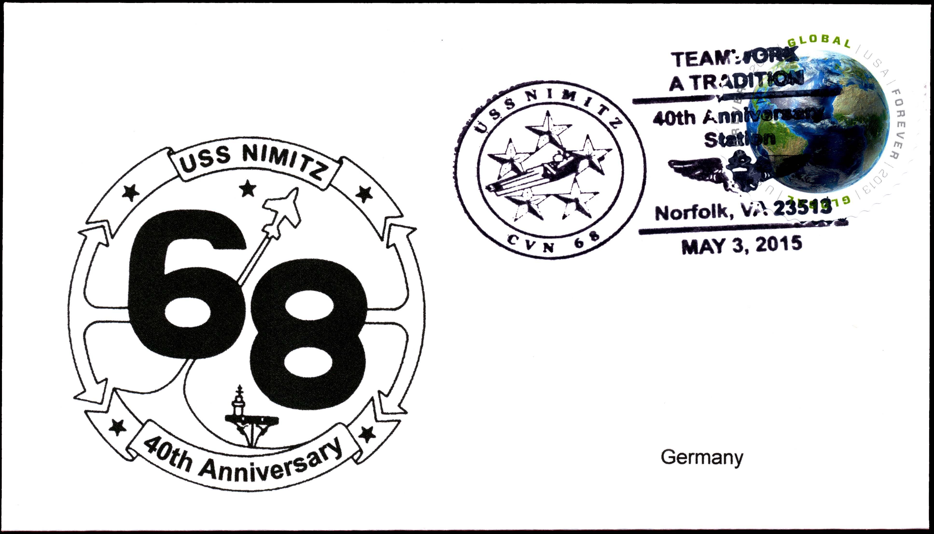 Sonderpoststempel USS NIMITZ CVN-68 40 Jahre im Dienst von Wolfgang Hechler
