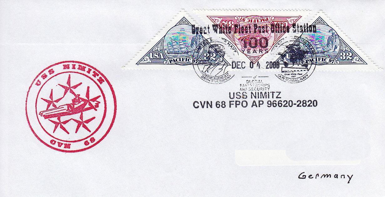 Beleg USS NIMITZ CVN-68 Sonderpoststempel Great White Fleet