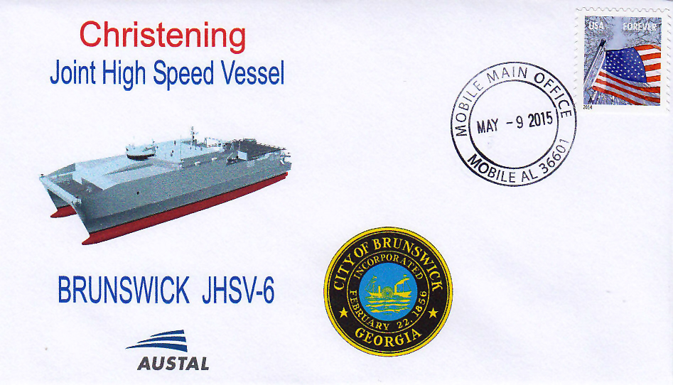 Beleg USNS BRUNSWICK JHSV-6 Christening