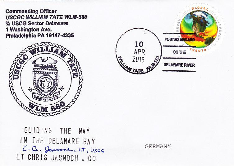 Beleg USCGC WILLIAM TATE WLM-560 vom 10.04.2015 von Daniel Gornig