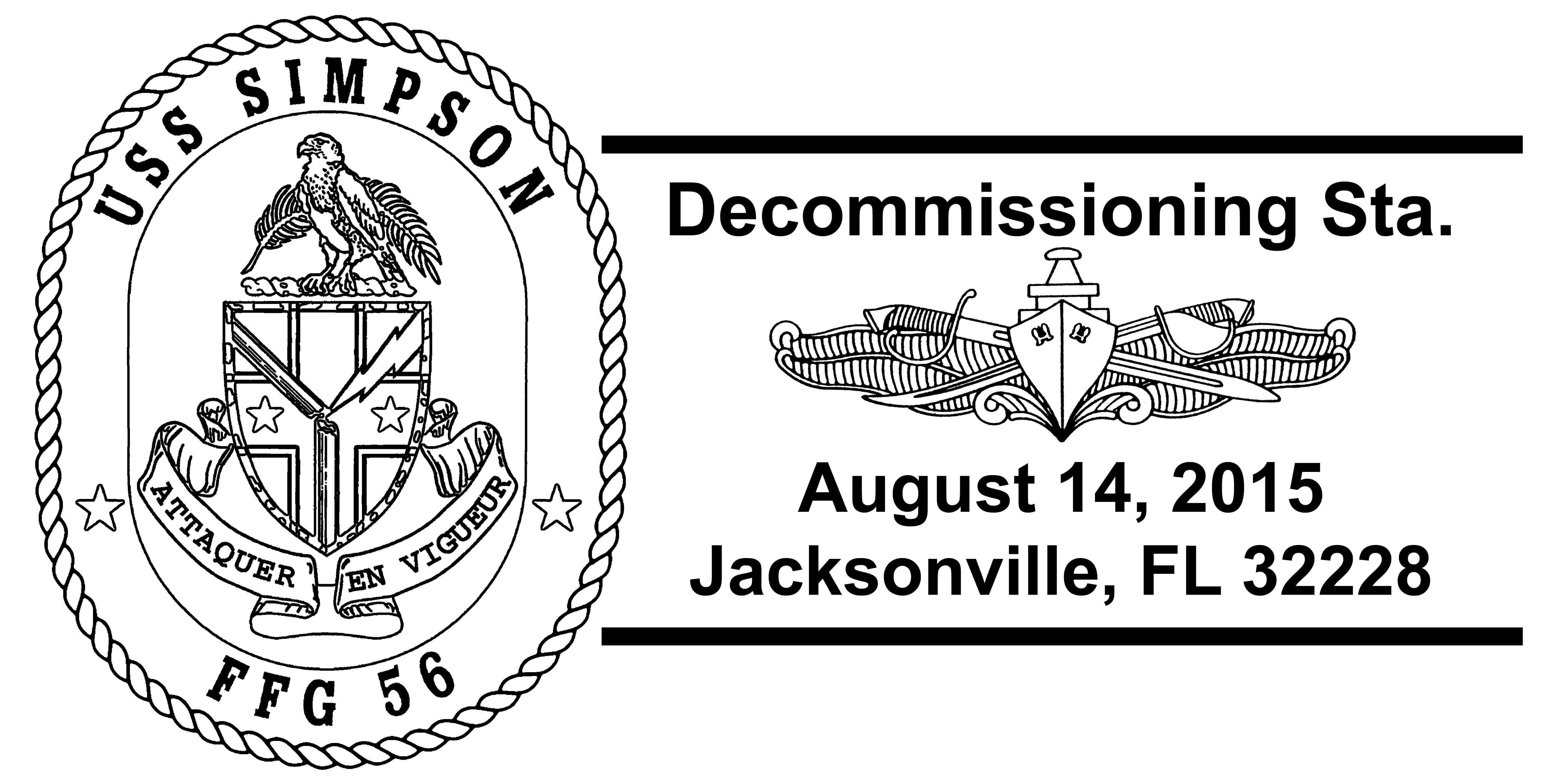 Sonderpoststempel USS SIMPSON FFG-56 Außerdienststellung Grafik: Wolfgang Hechler