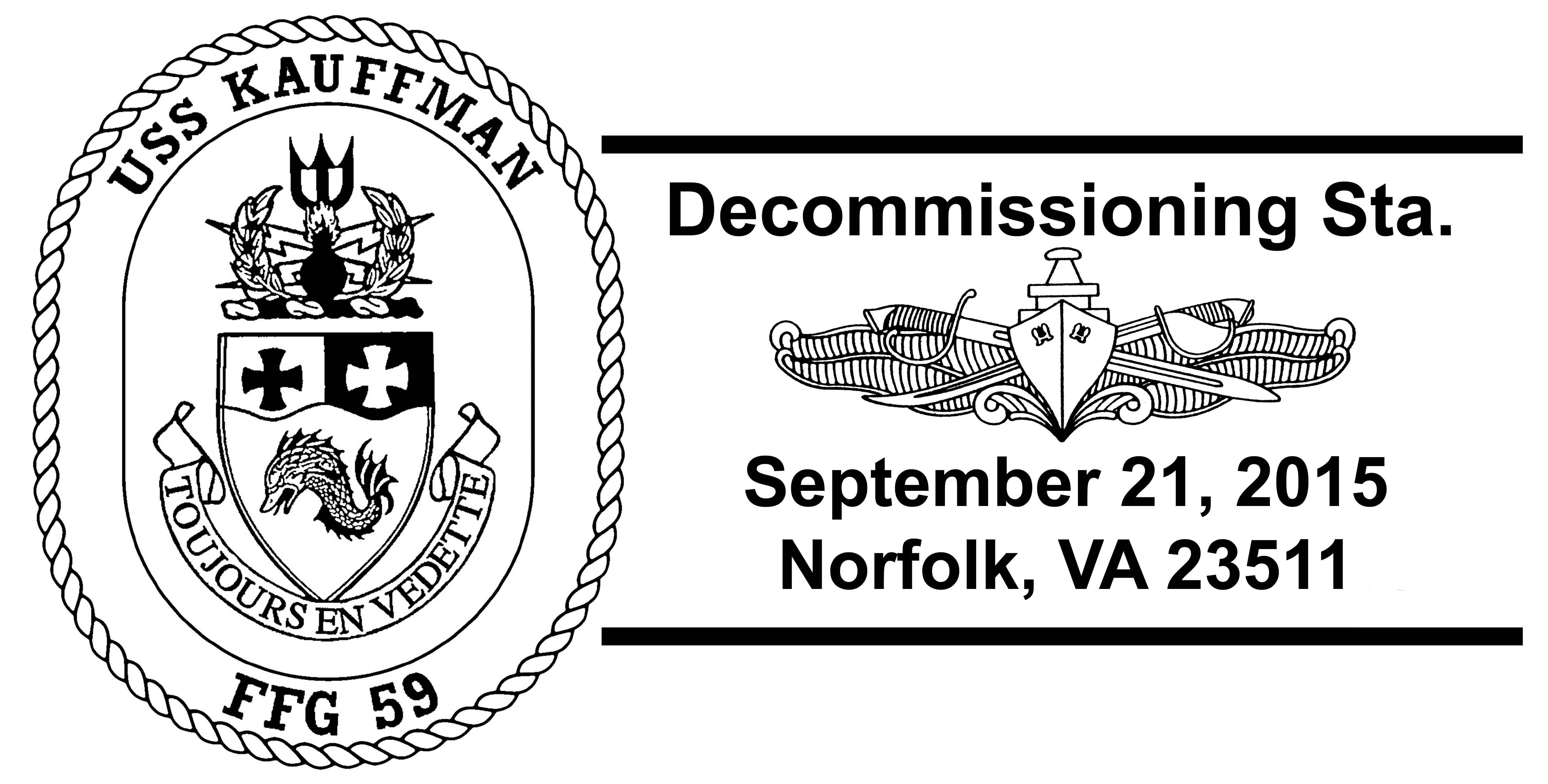 Sonderpoststempel USS KAUFFMAN FFG-59 Außerdienststellung Grafik: Wolfgang Hechler
