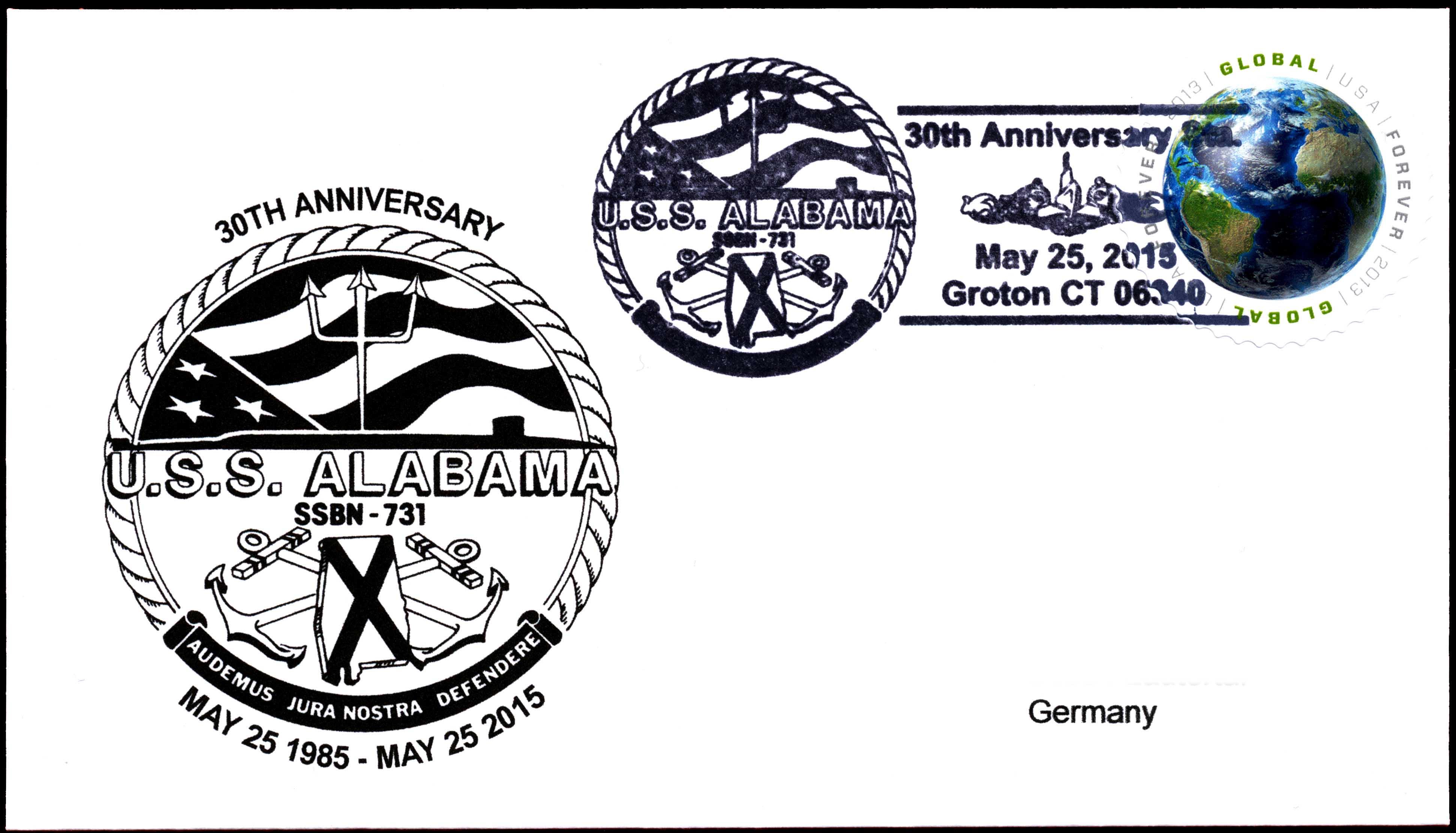 Beleg USS ALABAMA SSBN-731  30 Jahre im Dienst von Wolfgang Hechler