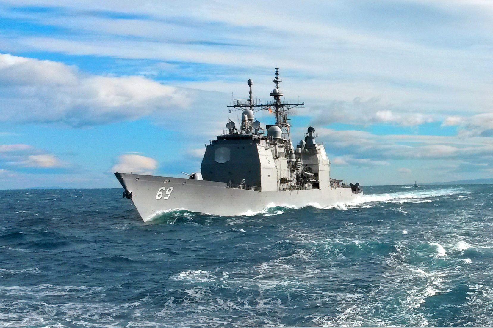 USS VICKSBURG CG-69 am 10.07.2015 im Atlantik Bild: U.S. Navy
