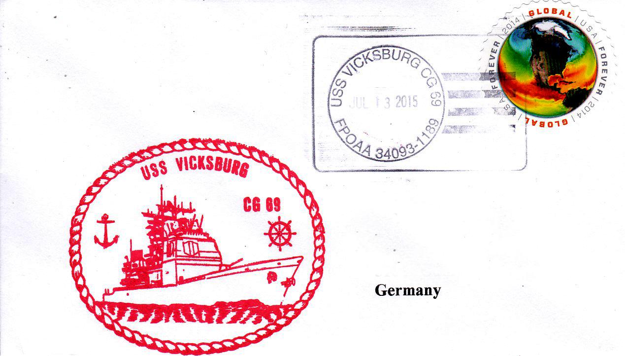 Beleg USS VICKSBURG CG-69 vom 13.07.2015 von Karl Friedrich Weyland