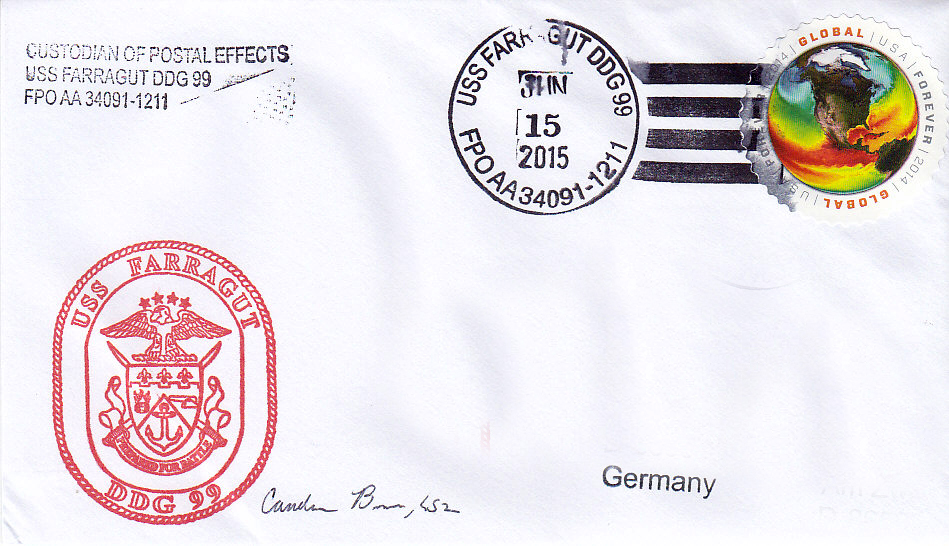 Beleg USS FARRAGUT DDG-99 vom 15.06.2015