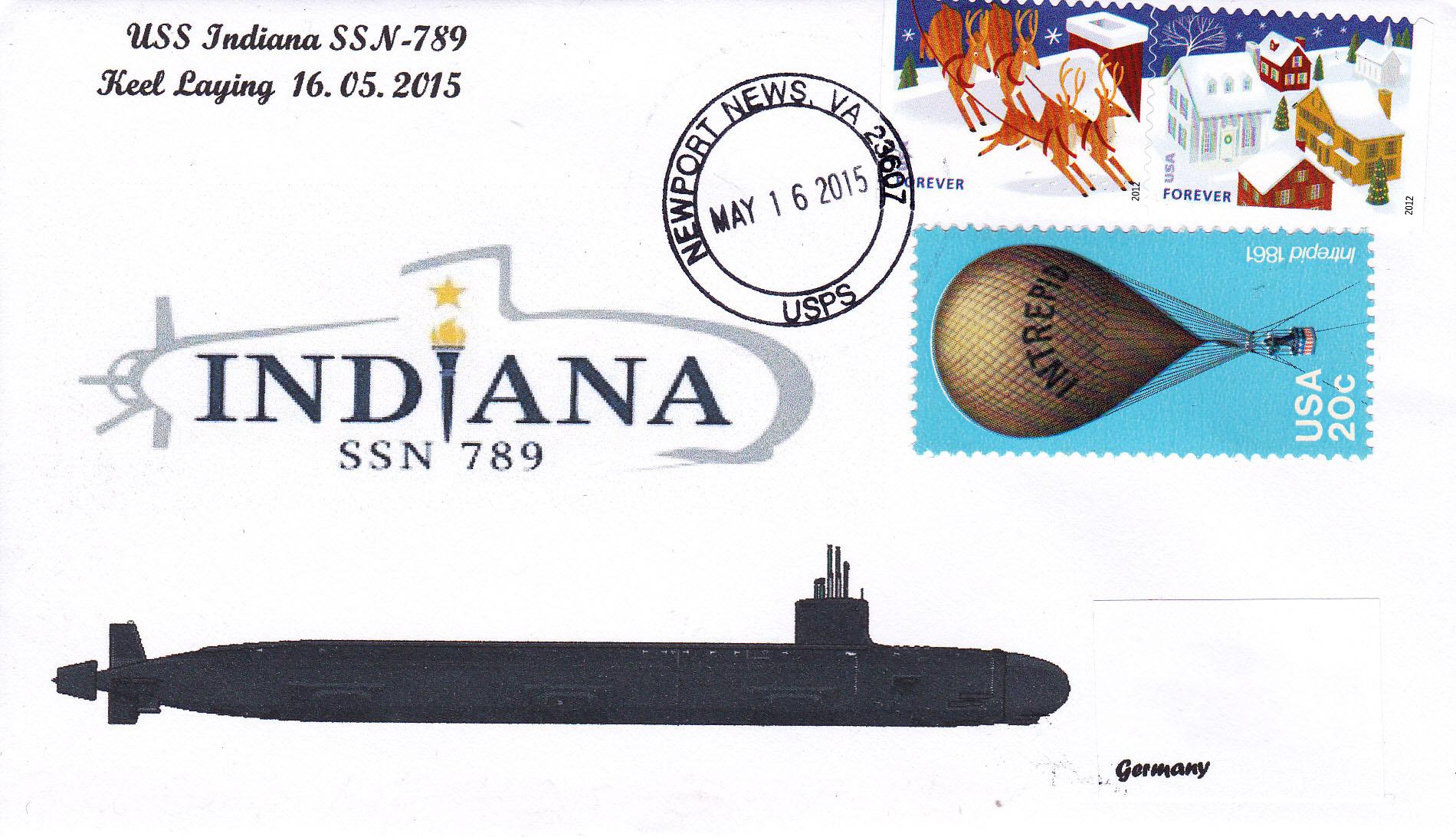 Beleg USS INDIANA SSN-789 Keel Laying Ceremony von Heinz Grasse