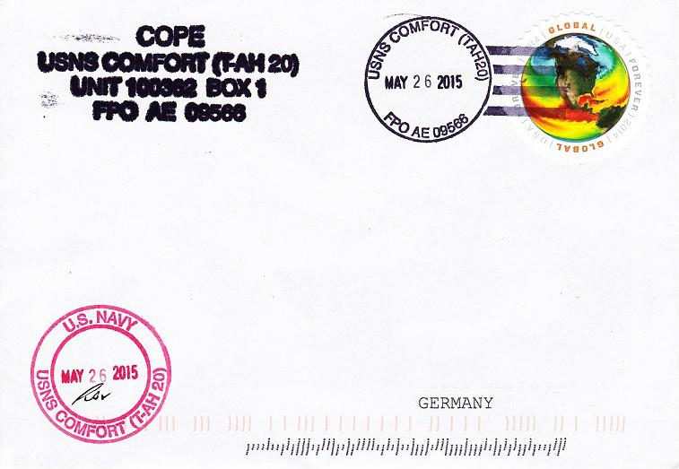 Beleg USNS COMFORT T-AH 20 vom 26.05.2015 von Daniel Gornig