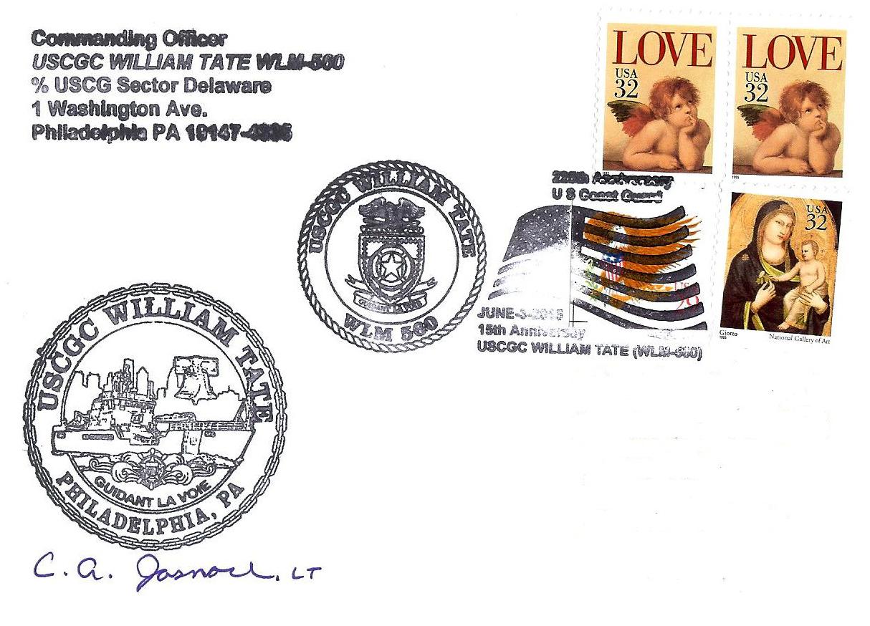 Beleg USCGC WILLIAM TATE WLM-560  15 Jahre im Dienst Beleg: Gabriel Hartberger