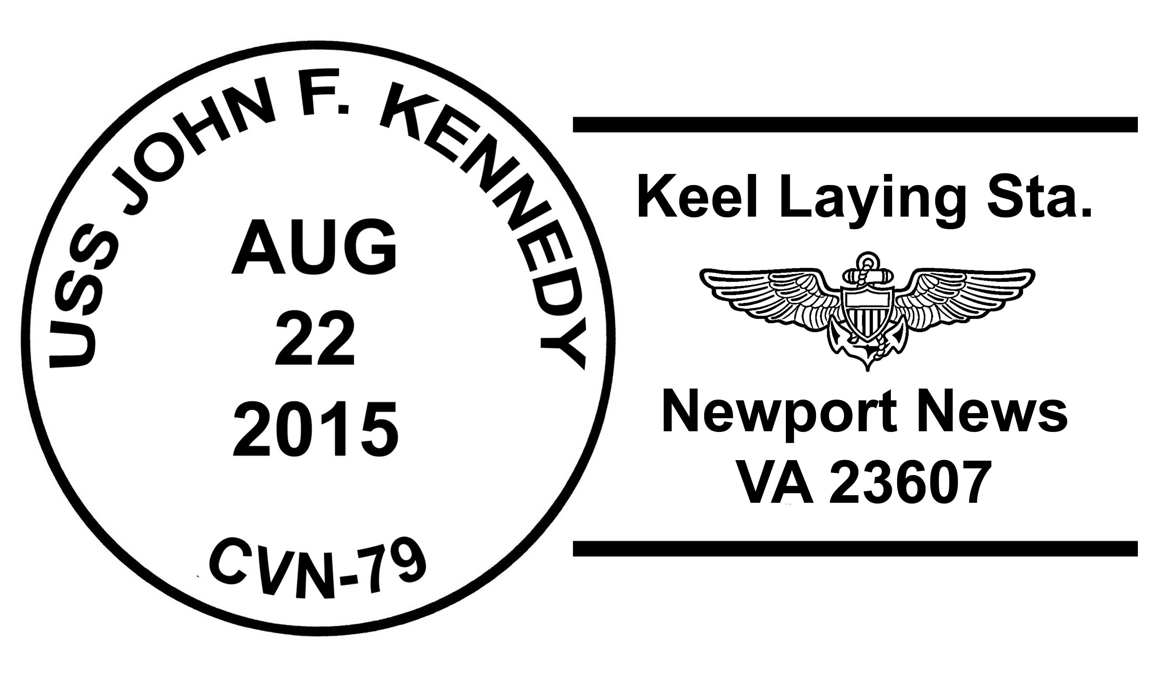 USS JOHN F. KENNEDY CVN-79 Keel Laying Sonderpoststempel Design: Wolfgang Hechler