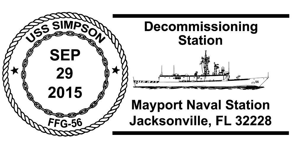 USS SIMPSON FFG-56 Decommissioning Sonderpoststempel Design: Wolfgang Hechler