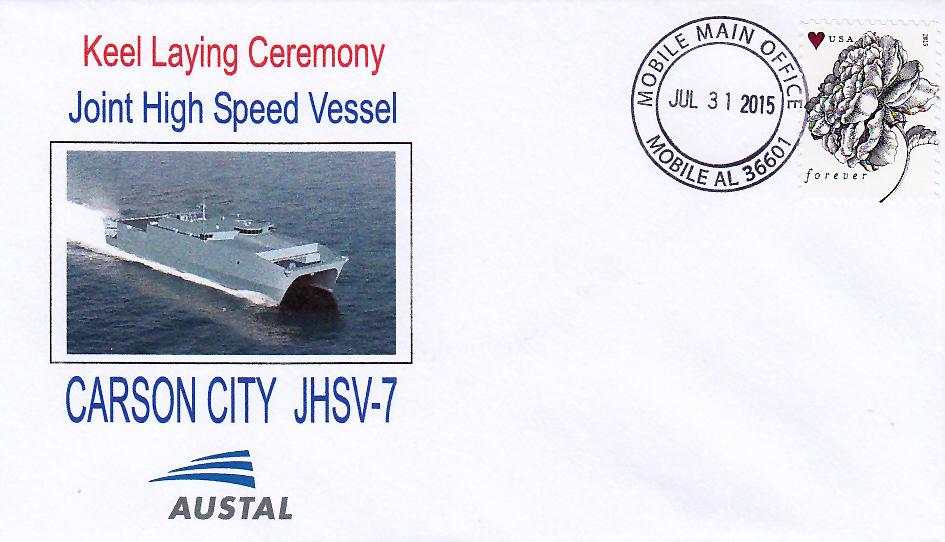 Beleg USNS CARSON CITY JHSV-7 Keel Laying