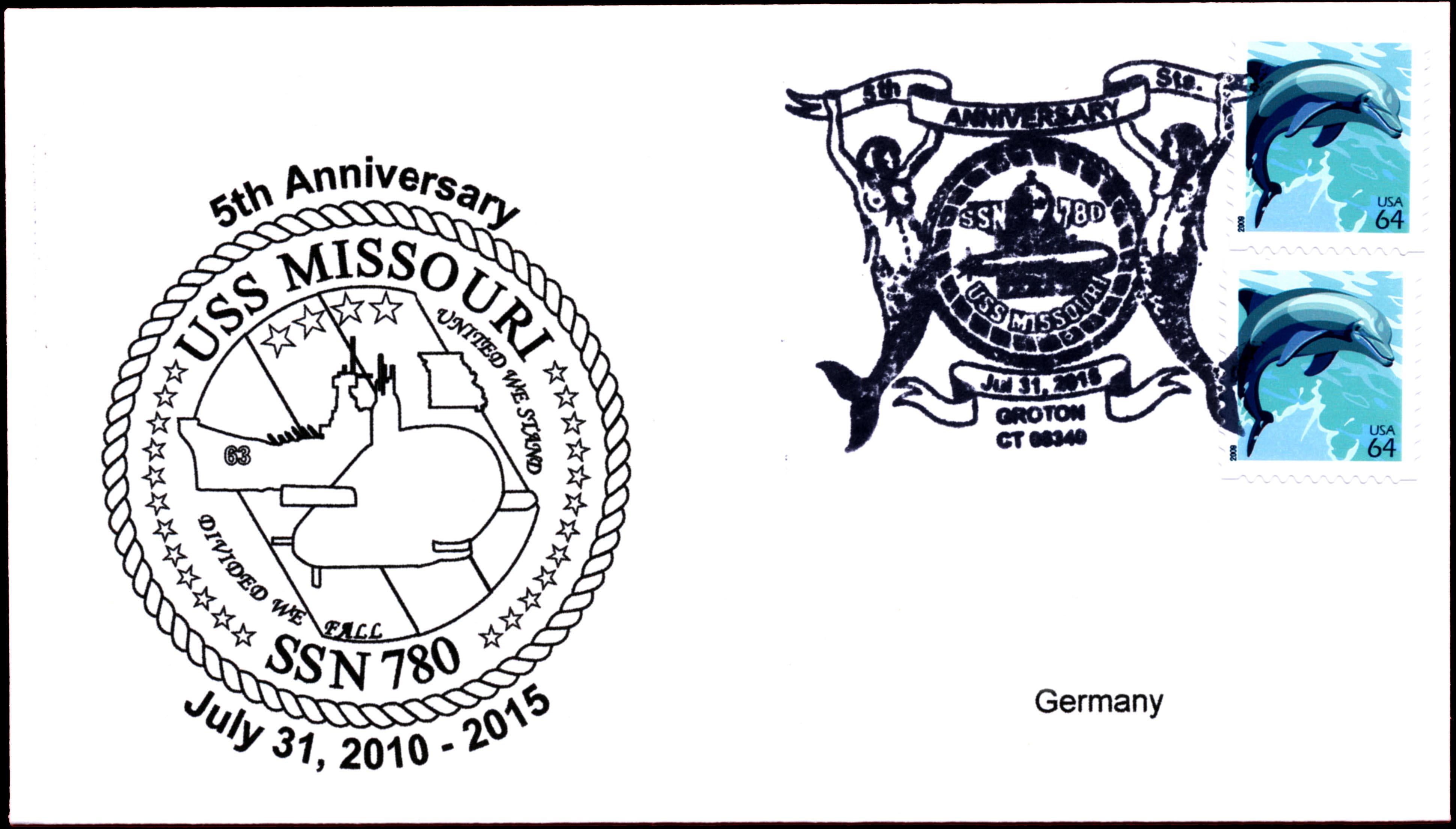 Beleg USS MISSOURI SSN-780  5 Jahre im Dienst von Wolfgang Hechler