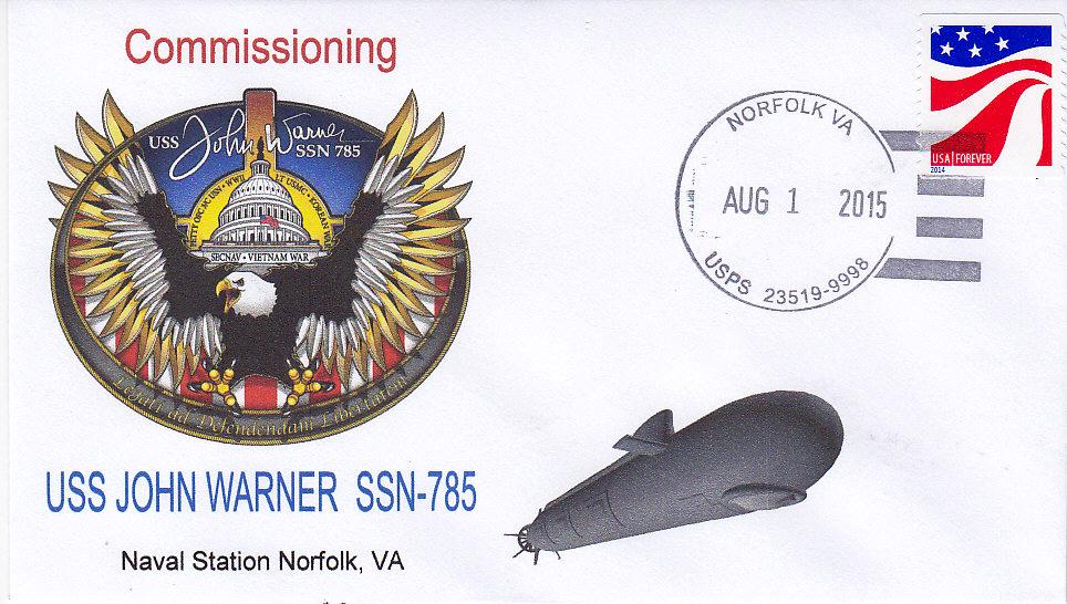 Beleg USS JOHN WARNER SSN-785 Commissioning