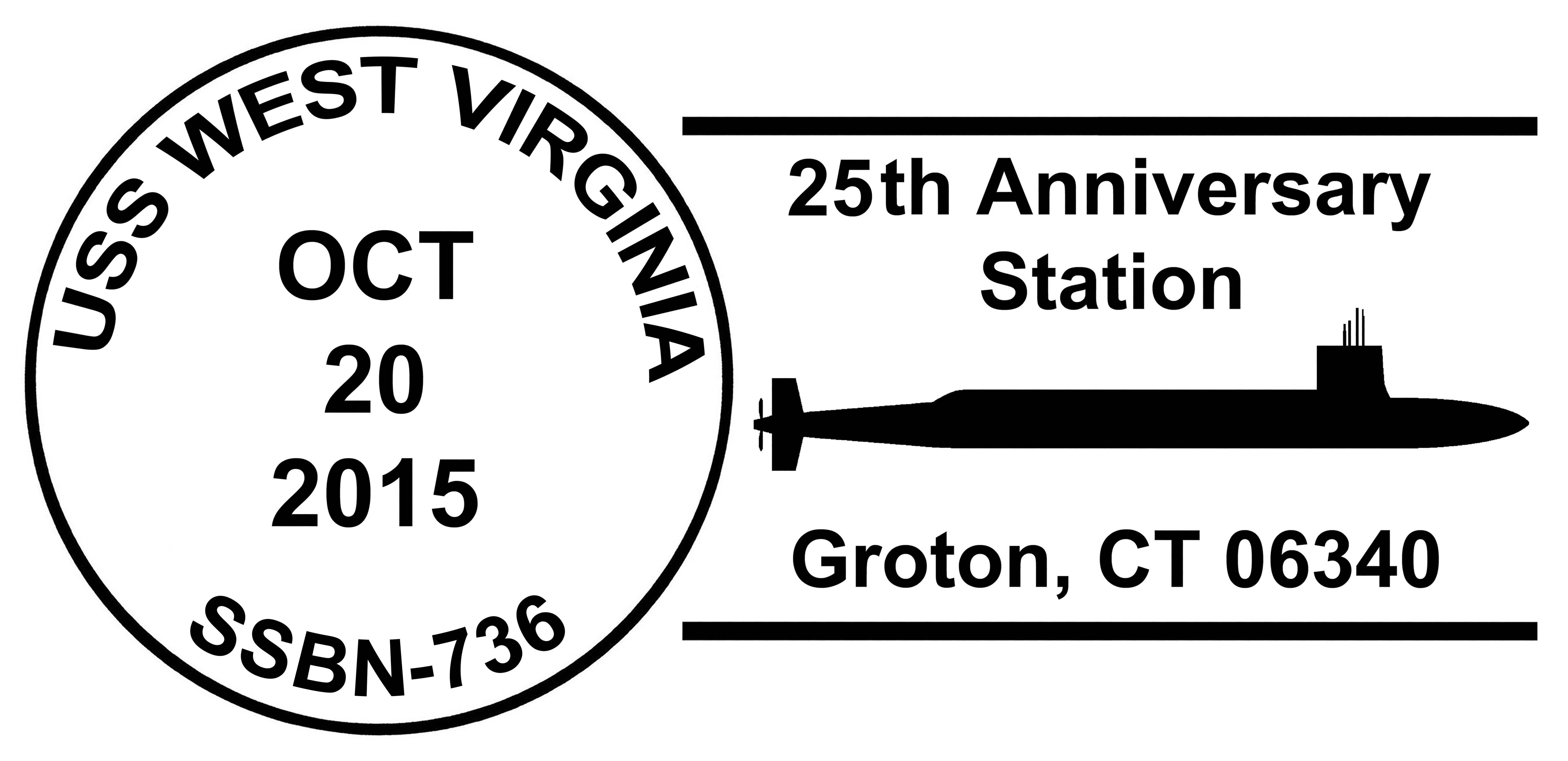 Sonderpoststempel USS WEST VIRGINIA SSBN-736  25 Jahre im Dienst Design: Wolfgang Hechler