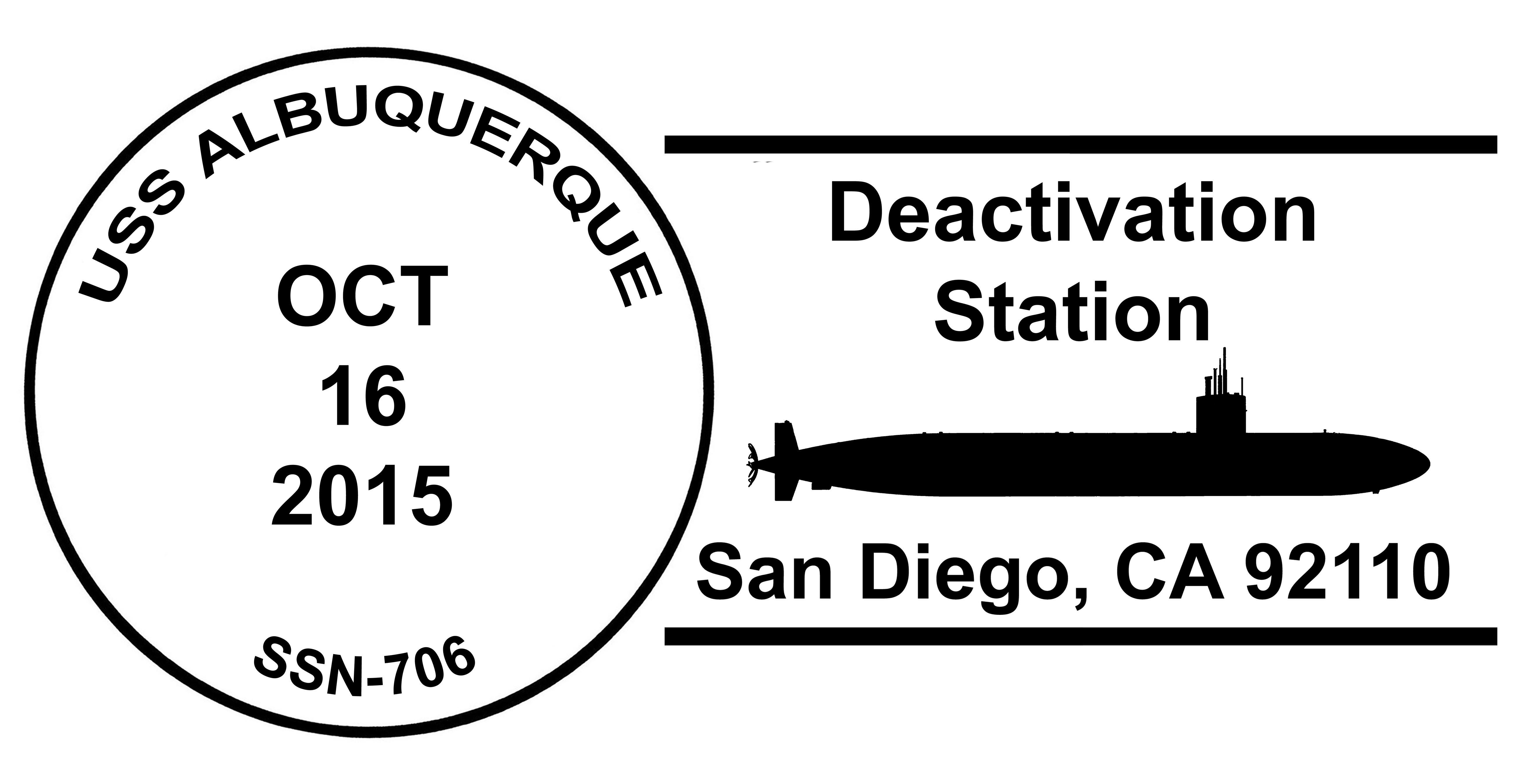 Sonderpoststempel USS ALBUQUERQUE SSN-706 Deactivation Design: Wolfgang Hechler