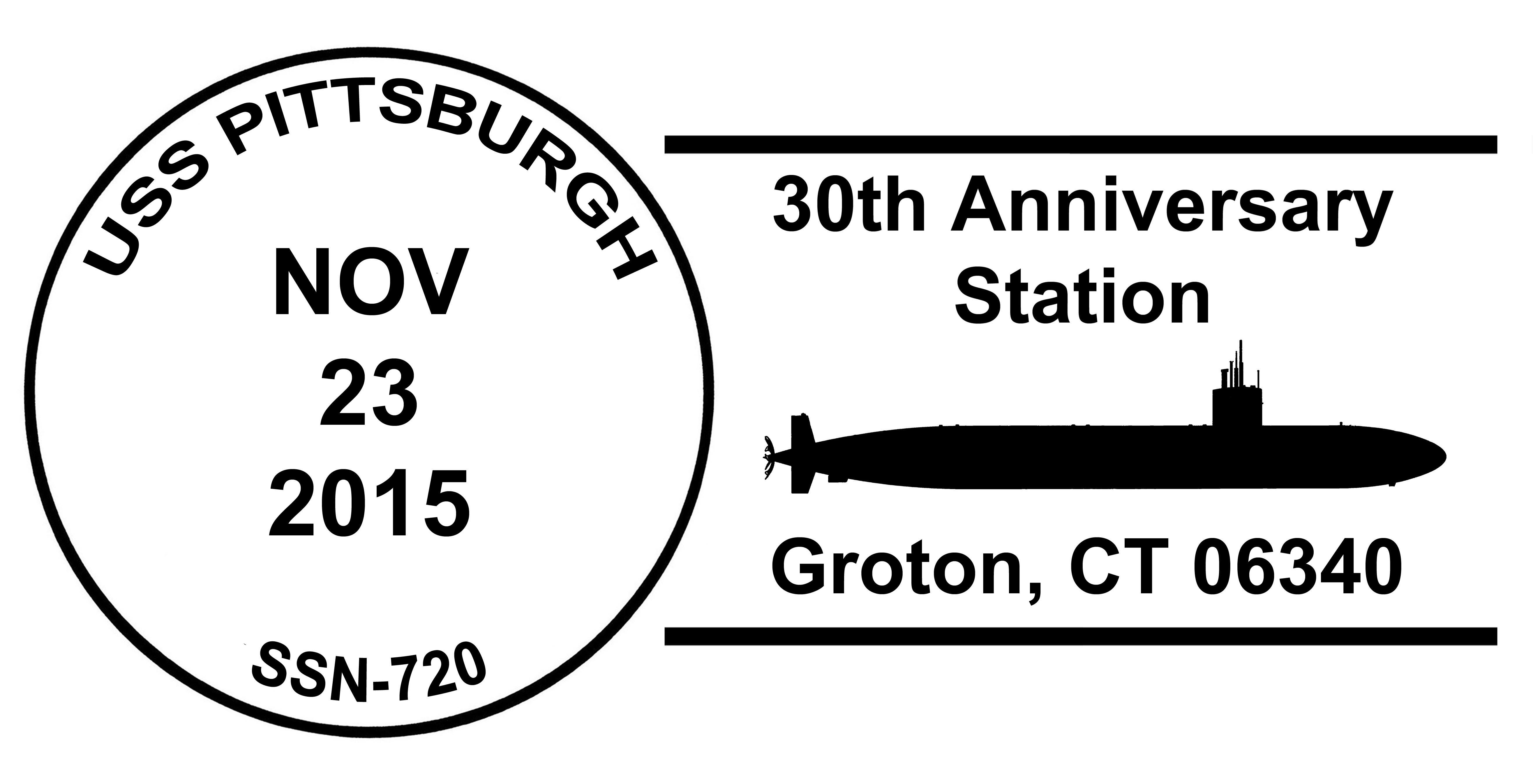 Sonderpoststempel USS PITTSBURGH SSN-720  30 Jahre im Dienst Design: Wolfgang Hechler