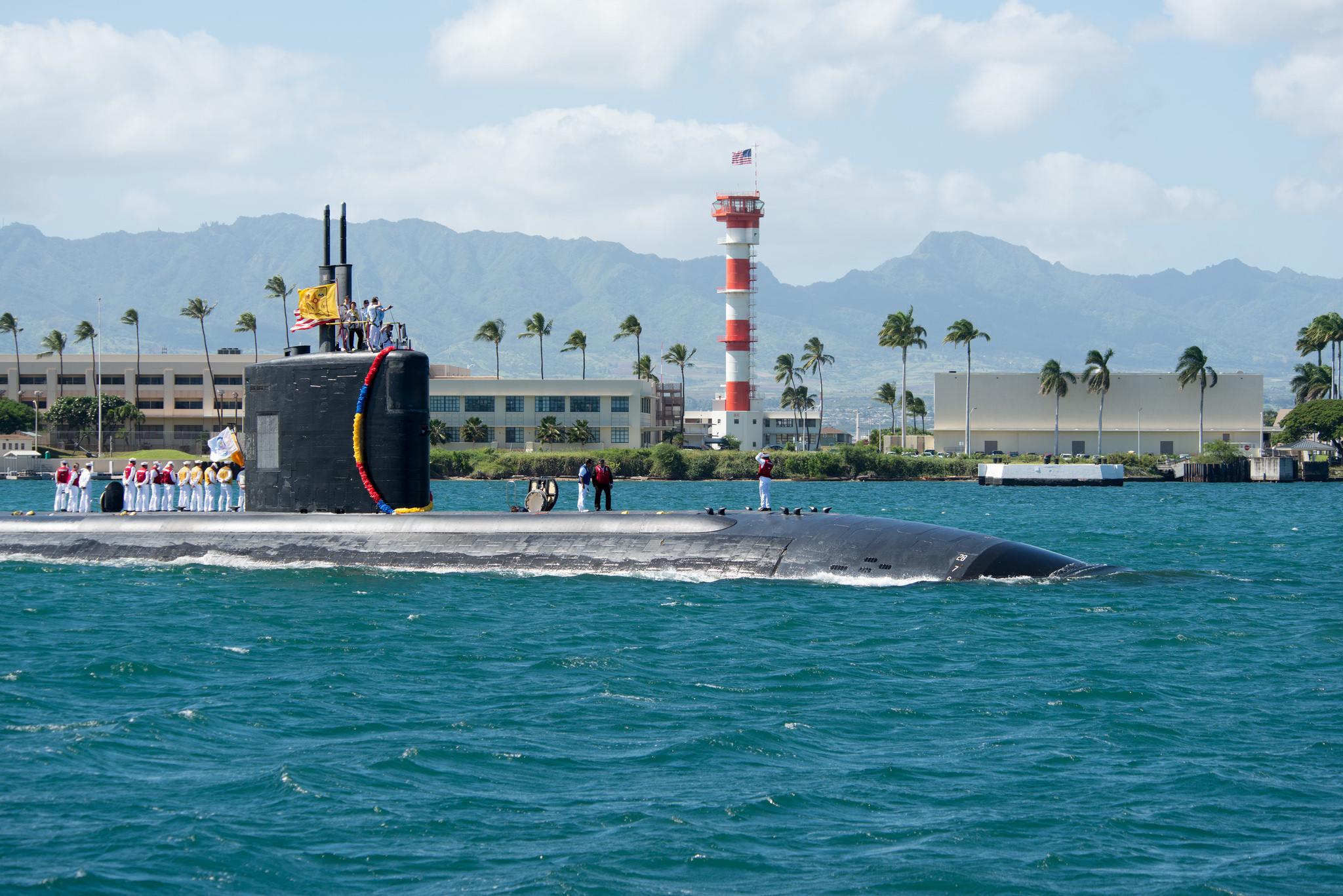 USS SANTA FE SSN-763 Einlaufen Pearl Harbor am 28.10.2015 Bild: U.S. Navy