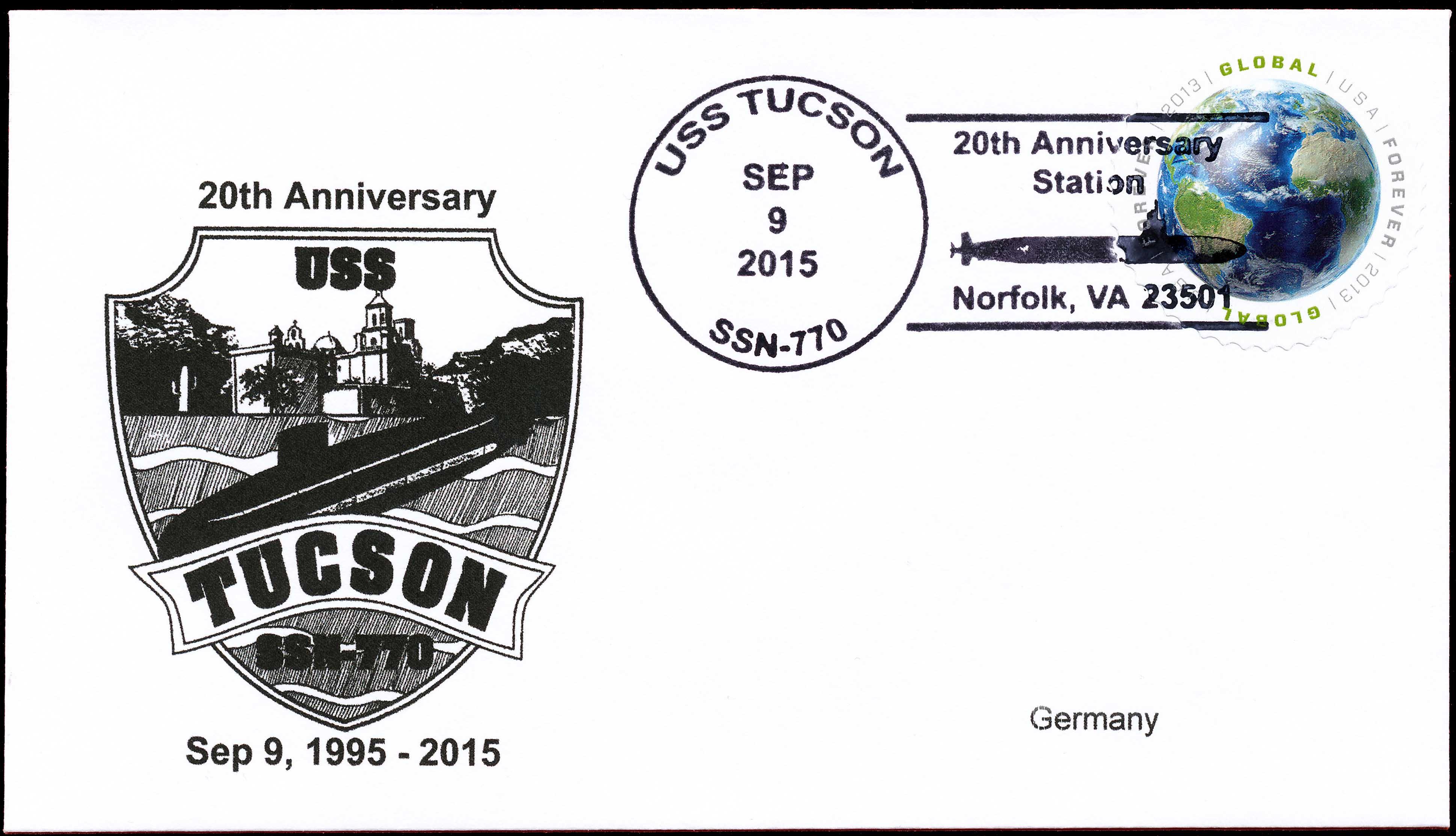 Beleg USS TUCSON SSN-770  20 Jahre im Dienst von Wolfgang Hechler