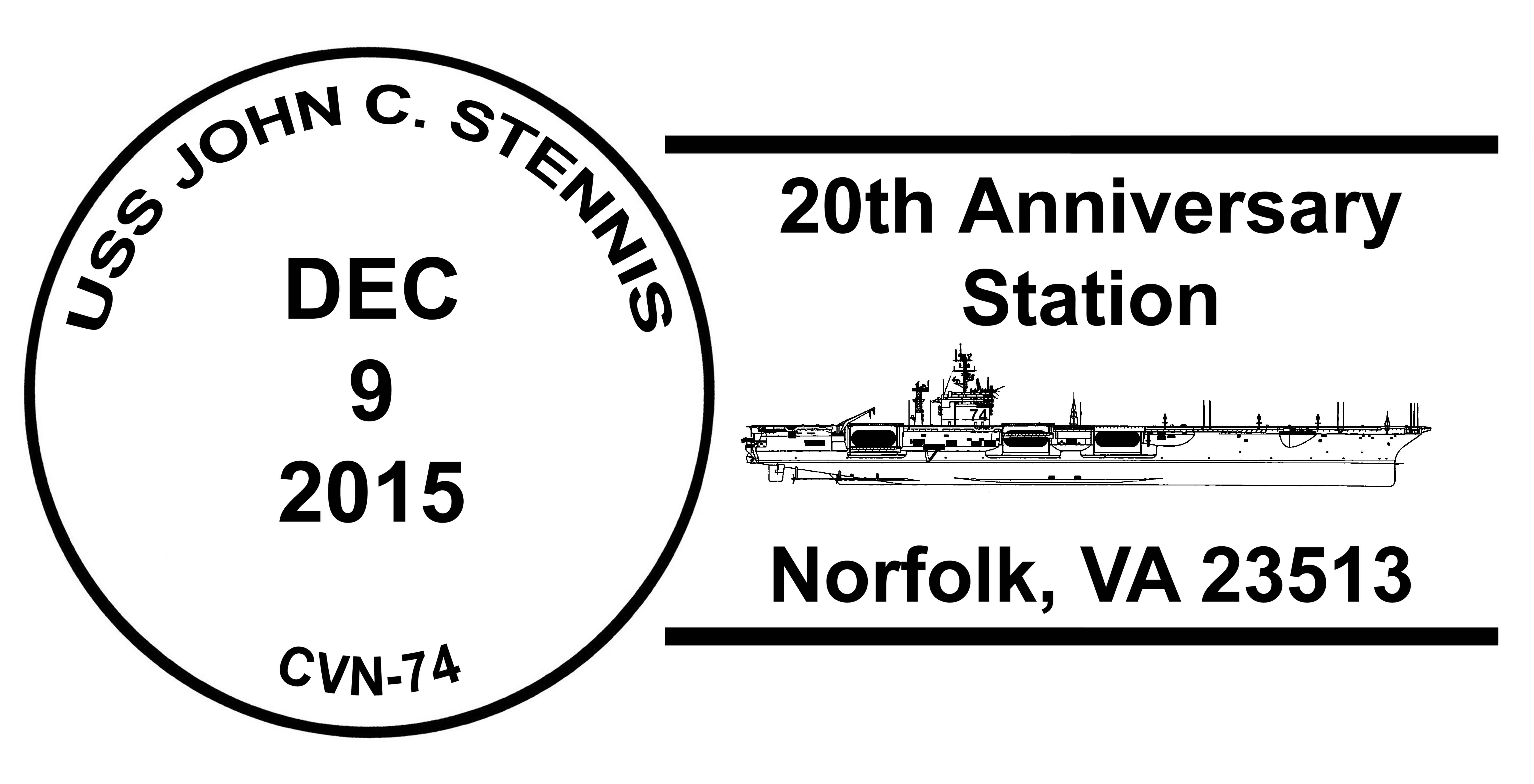 USS JOHN C. STENNIS CVN-74 Sonderpoststempel 20 Jahre im Dienst Norfolk Grafik: Wolfgang Hechler
