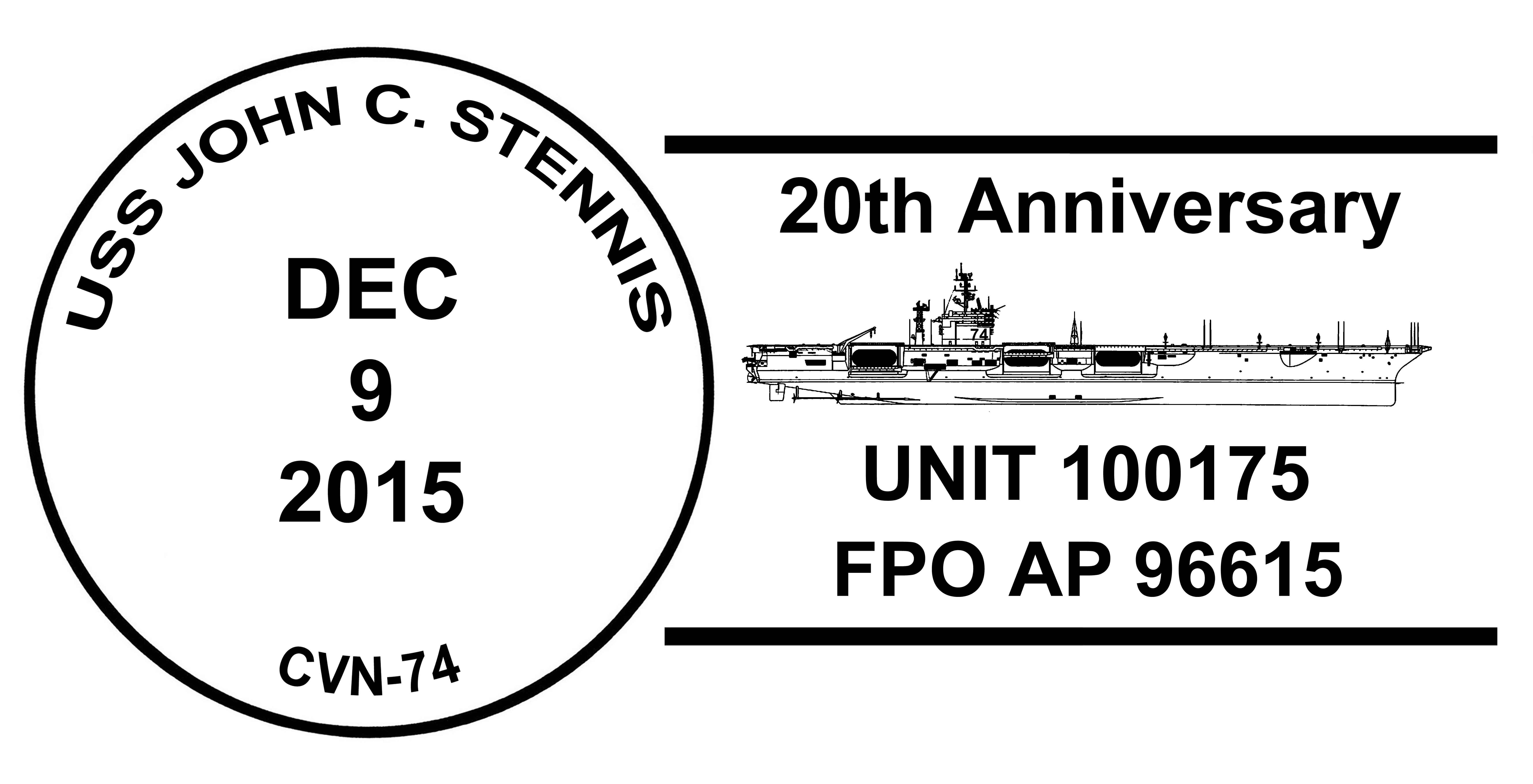 USS JOHN C. STENNIS CVN-74 Sonderpoststempel 20 Jahre im Dienst Grafik: Wolfgang Hechler