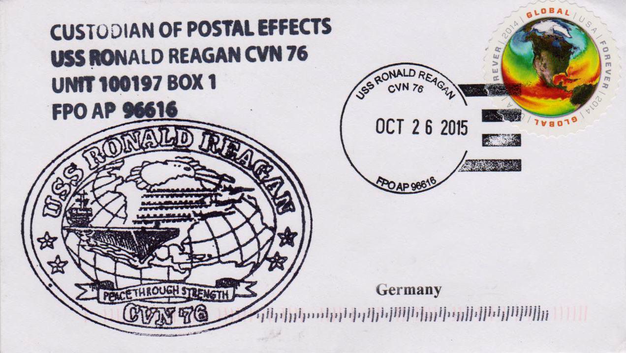 Beleg USS RONALD REAGAN CVN-76 vom 26.10.2015 von Karl Friedrich Weyland