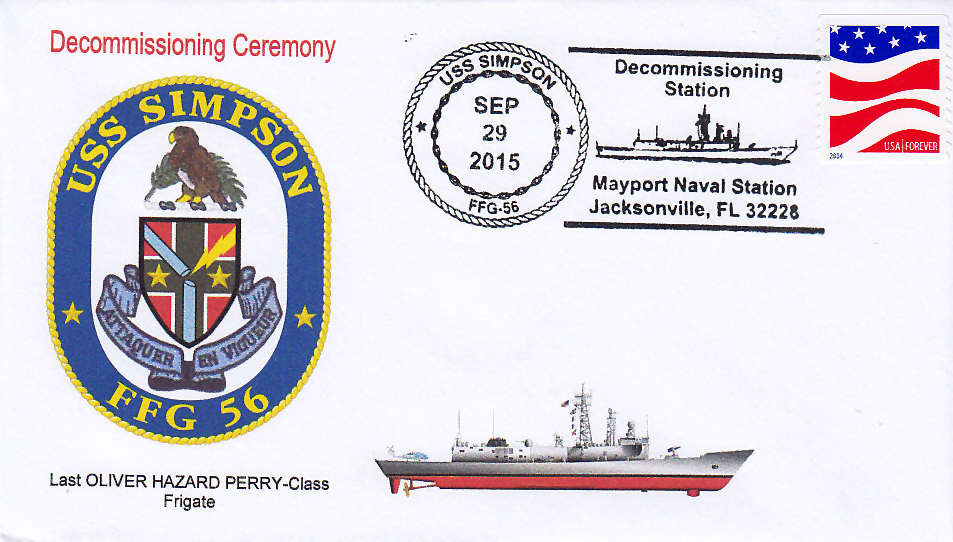 Beleg USS SIMPSON FFG-56 Außerdienststellung JAX