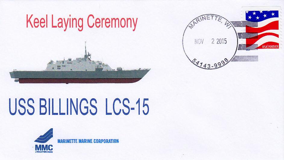 Beleg USS BILLINGS LCS-15 Kiellegung