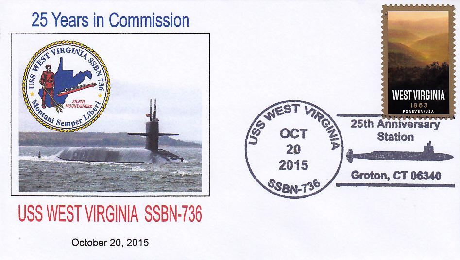 Beleg USS WEST VIRGINIA SSBN-736  25 Jahre im Dienst mit Sonderpoststempel