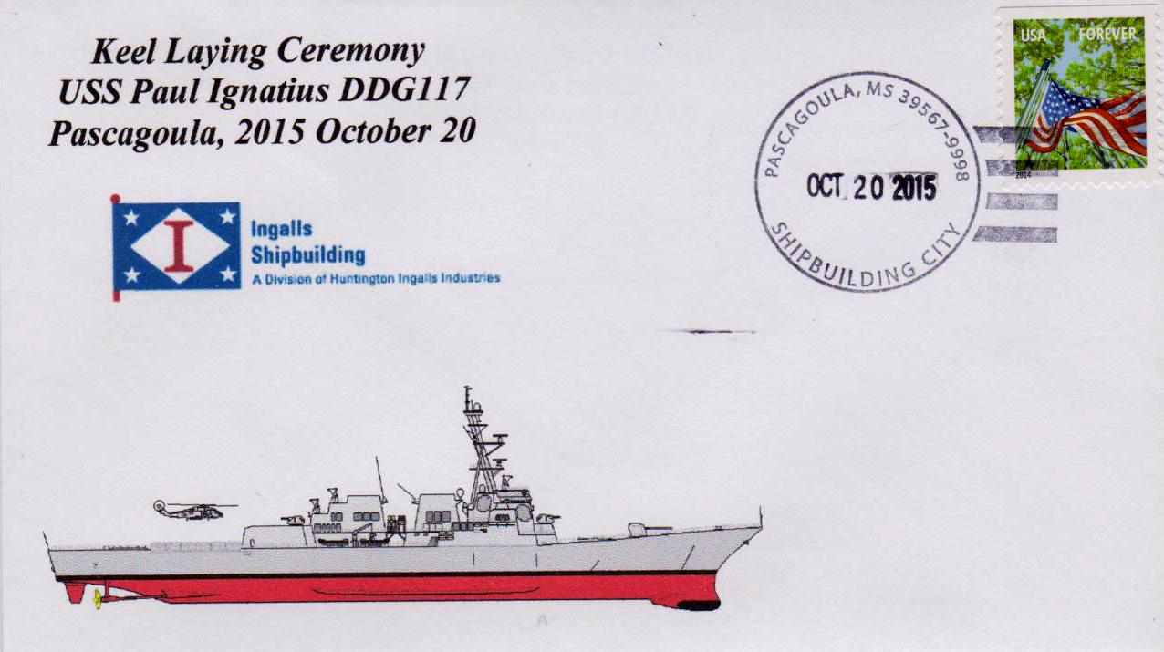 Beleg USS PAUL IGNATIUS DDG-117 Kiellegung von Karl Friedrich Weyland