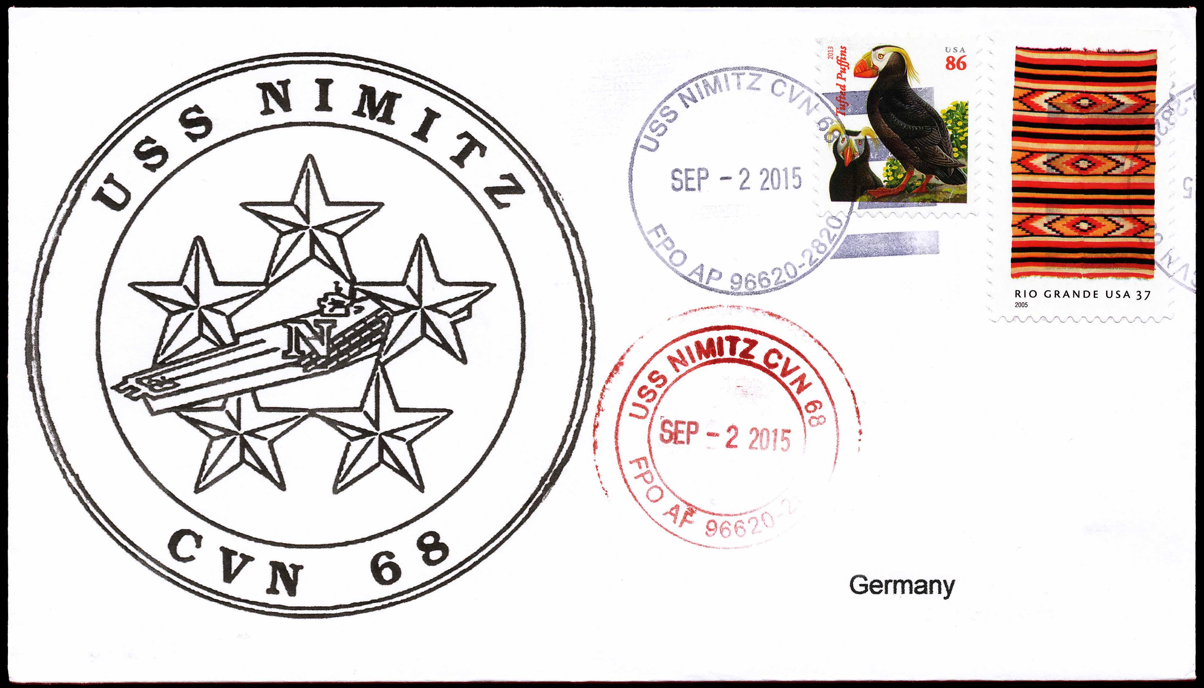 Beleg USS NIMITZ CVN-68 vom 02.09.2015 von Wolfgang Hechler