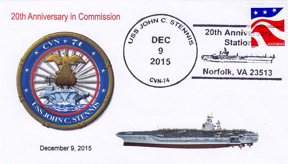 Beleg USS JOHN C. STENNIS CVN-74  20 Jahre im Dienst Norfolk