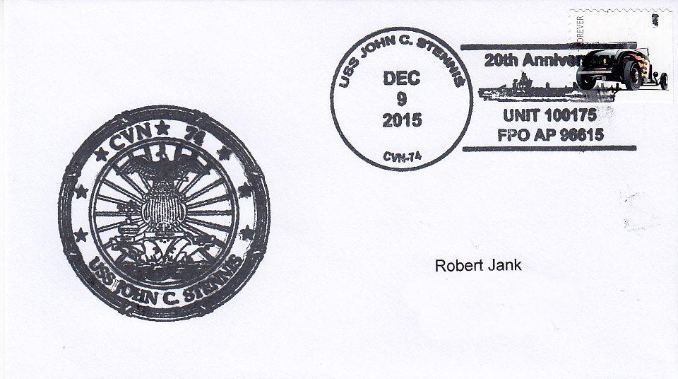 Beleg USS JOHN C. STENNIS CVN-74  20 Jahre im Dienst Sonderbordpoststempel