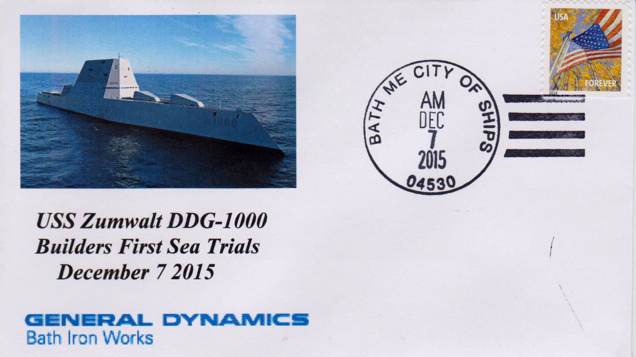 Beleg USS ZUMWALT DDG-1000 First Sea Trails von Karl Friedrich Weyland