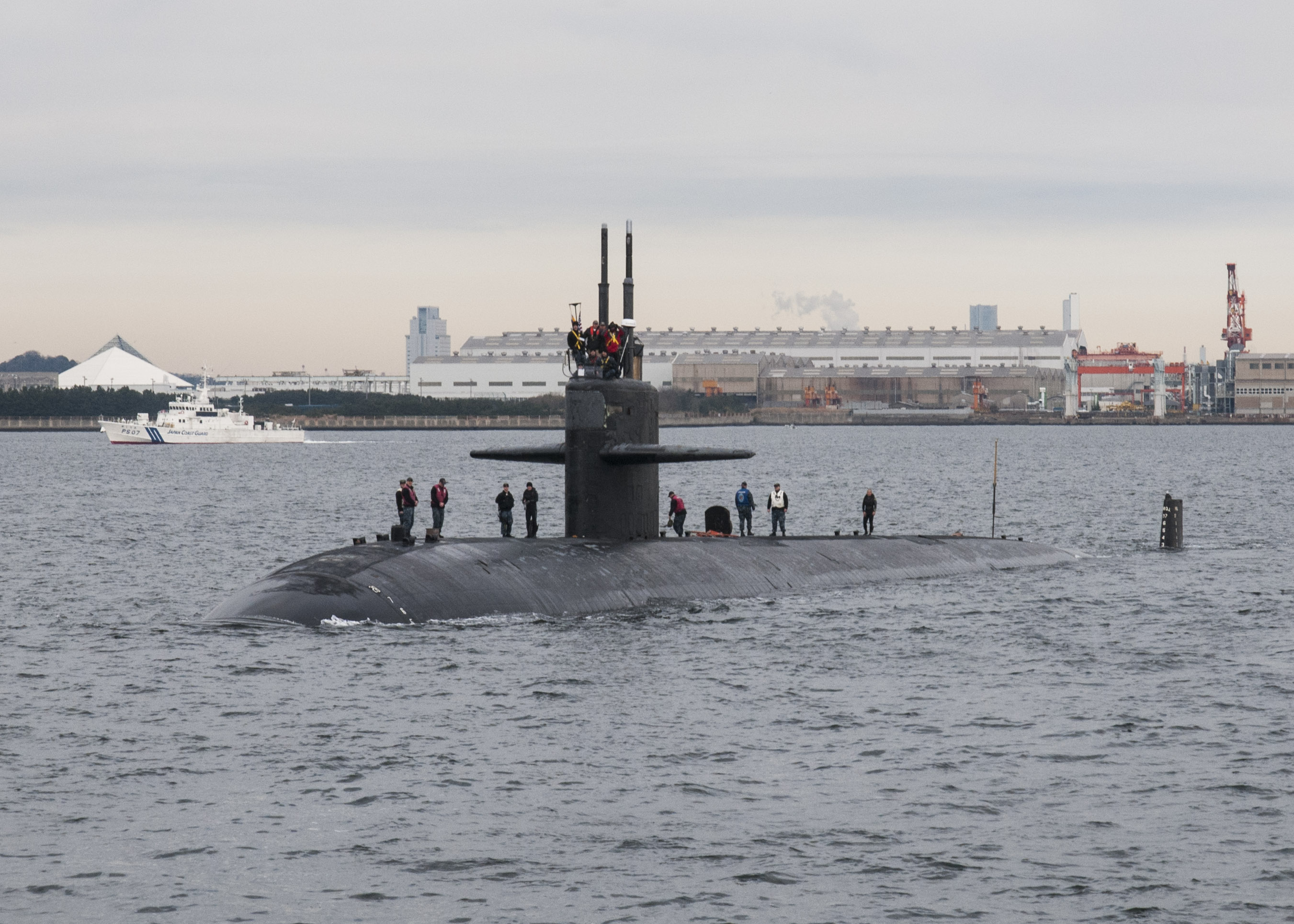 USS CITY OF CORPUS CHRISTI SSN-705 Einlaufen Yokosuka am 11.01.2016 Bild: U.S. Navy