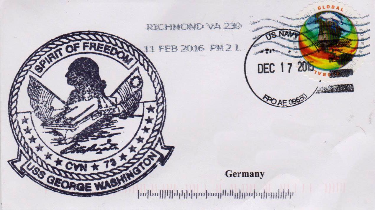 Beleg USS GEORGE WASHINGTON CVN-73 vom 17.12.2015 von Karl Friedrich Weyland