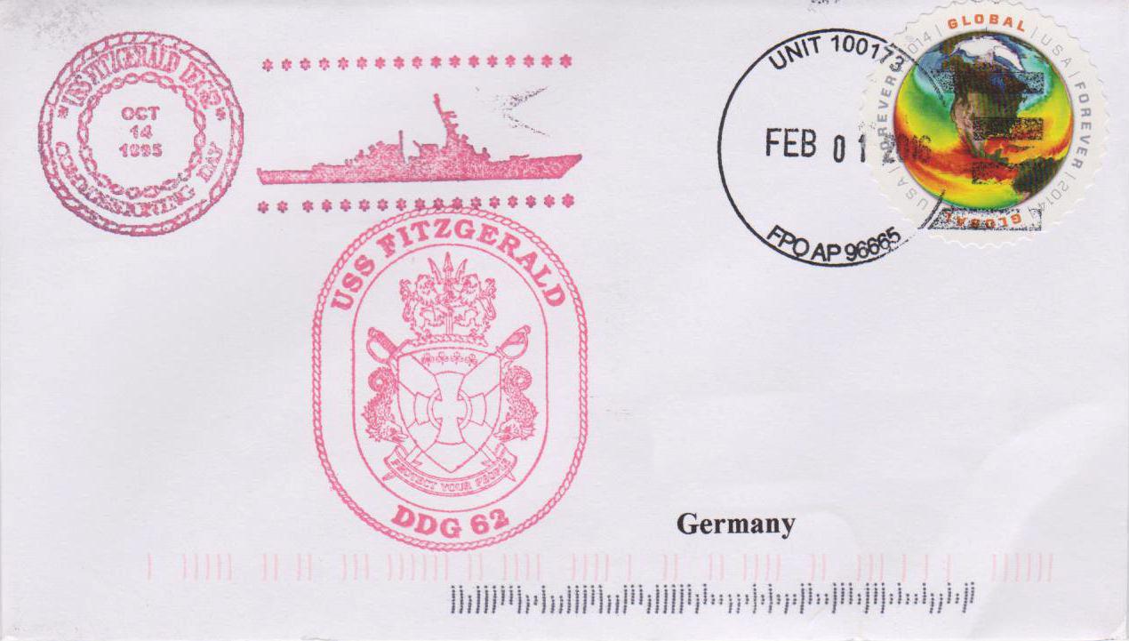 Beleg USS FITZGERALD DDG-62 vom 01.02.2016 von Karl Friedrich Weyland