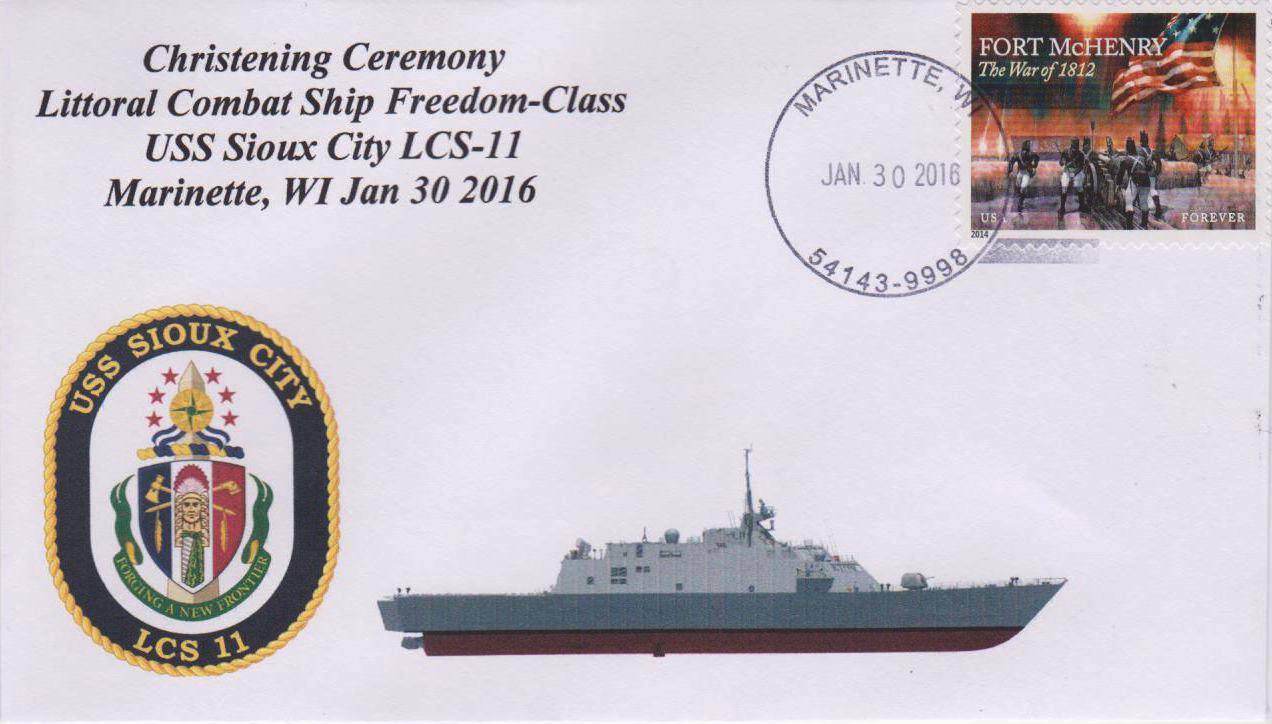 Beleg USS SIOUX CITY LCS-11 Taufe von Karl Friedrich Weyland