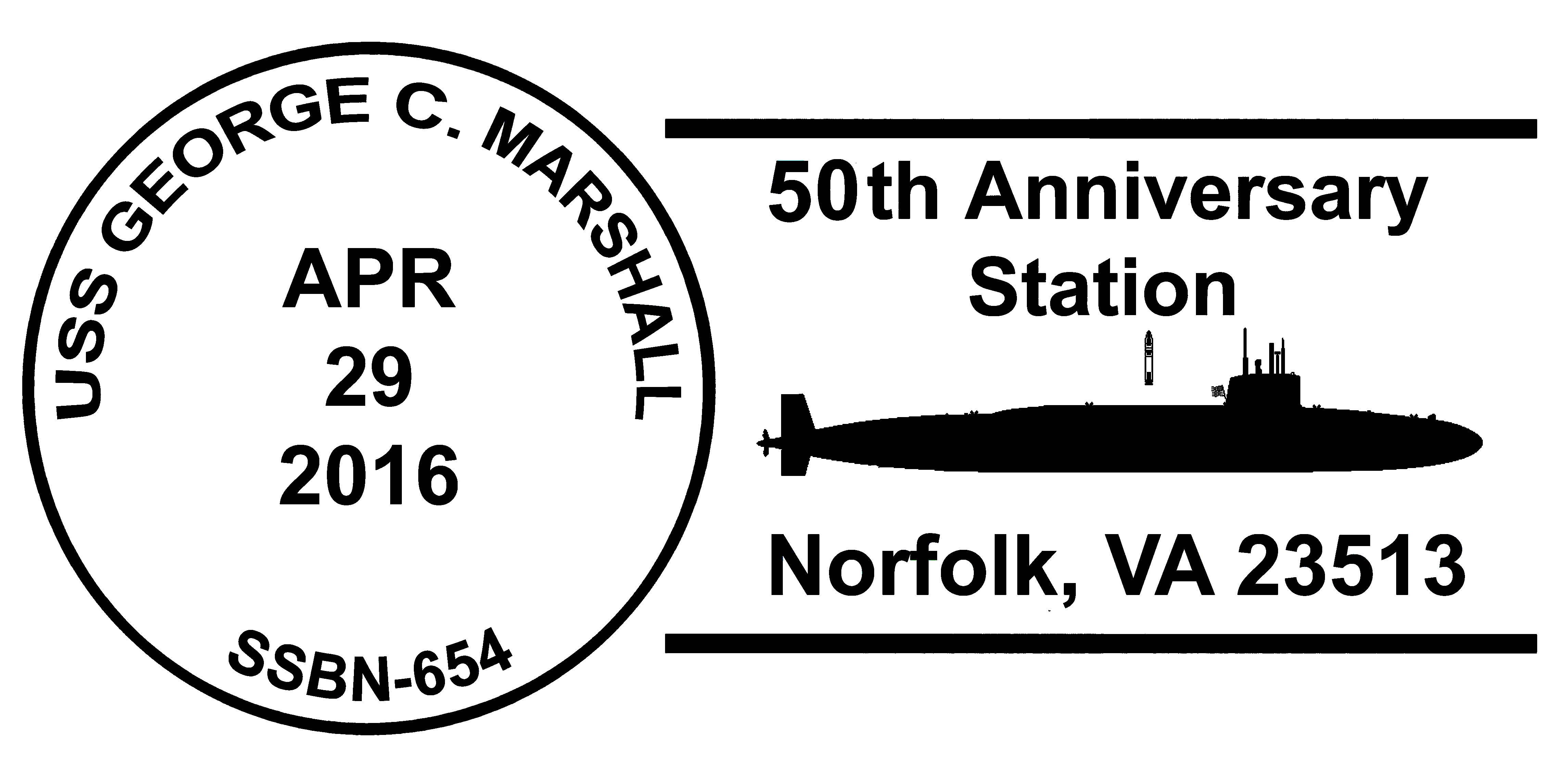 Sonderpoststempel USS GEORGE C. MARSHALL SSBN-654  50. Jahrestag Indienststellung Grafik: Wolfgang Hechler