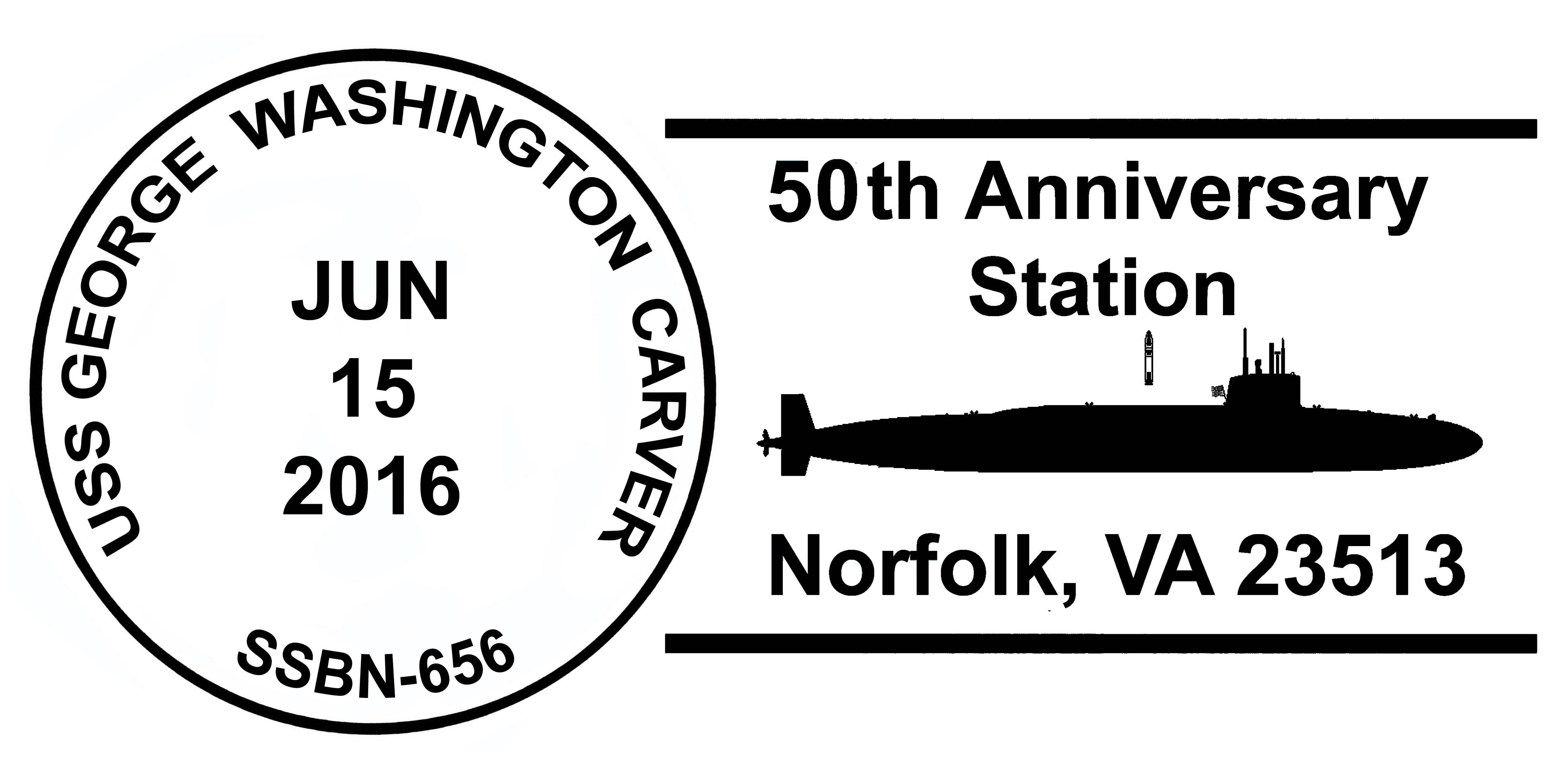Sonderpoststempel USS GEORGE WASHINGTON CARVER SSBN-656  50. Jahrestag Indienststellung Grafik: Wolfgang Hechler