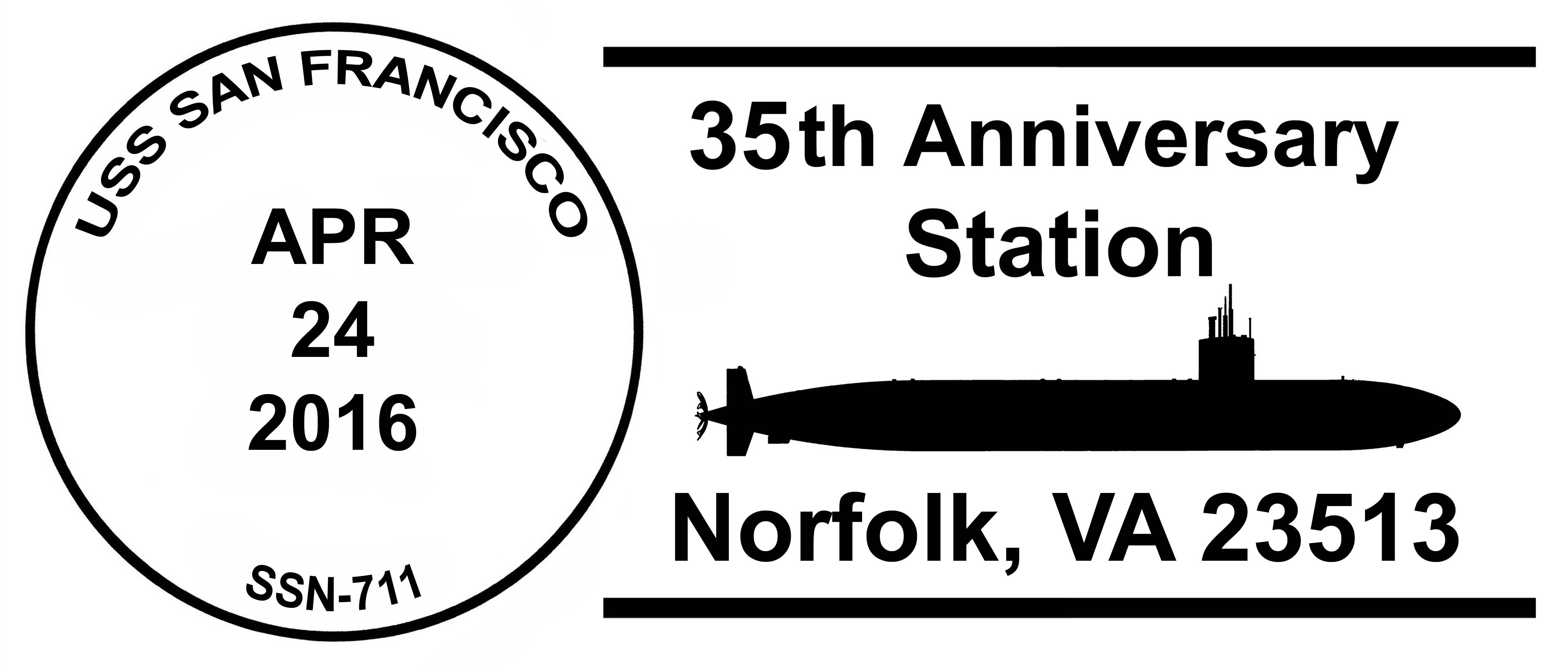 Sonderpoststempel USS SAN FRANCISCO SSN-711  35 Jahre im Dienst Grafik: Wolfgang Hechler