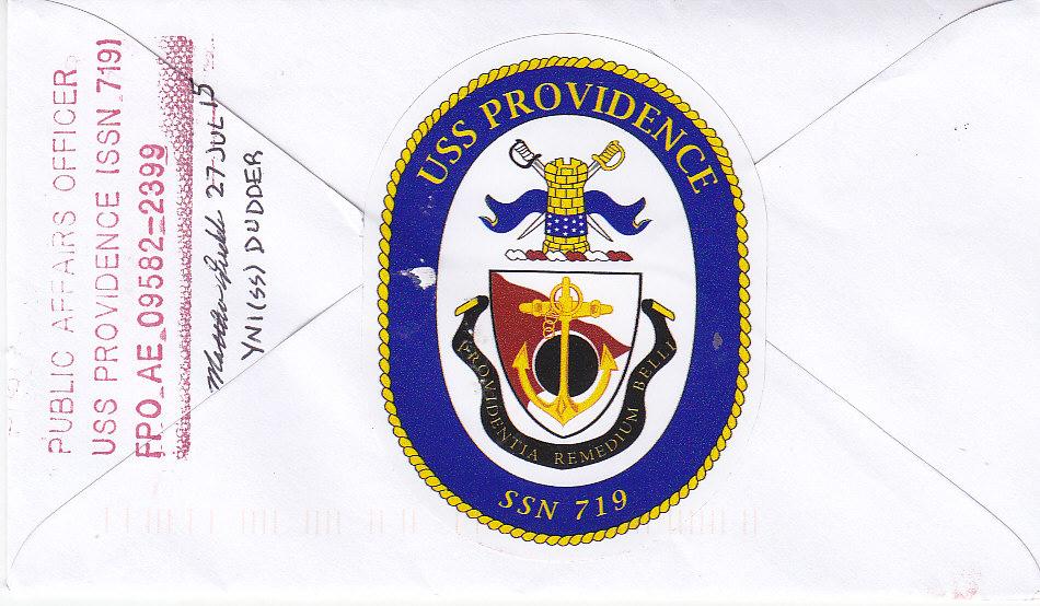 Beleg USS PROVIDENCE SSN-719 vom 09.02.2016 Rückseite