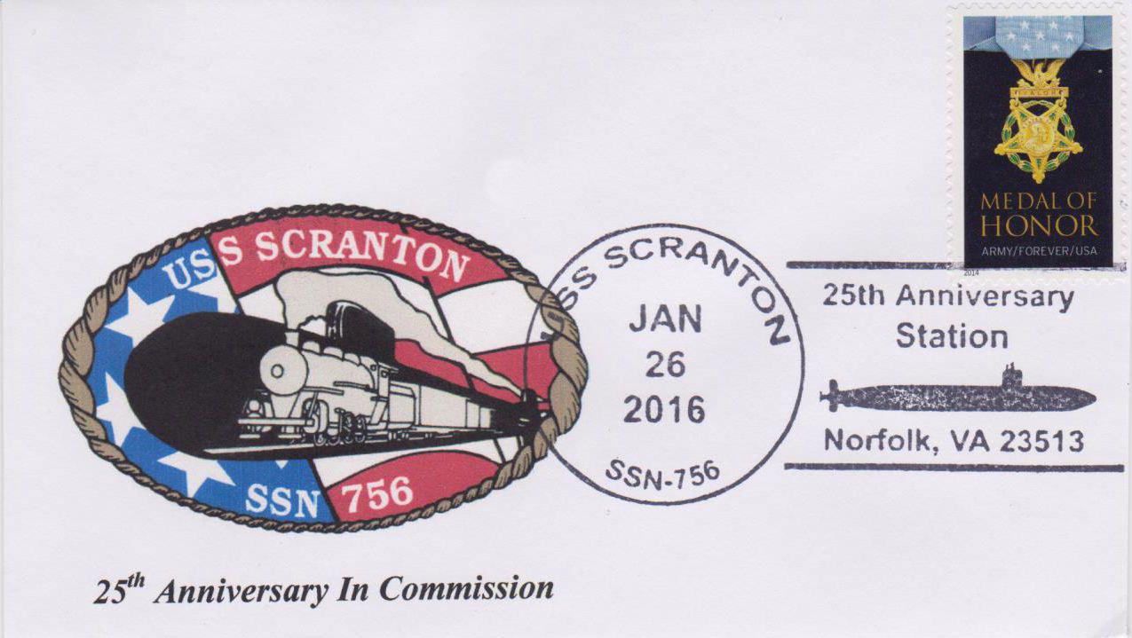 Beleg USS SCRANTON SSN-756  25 Jahre im Dienst von Karl Friedrich Weyland