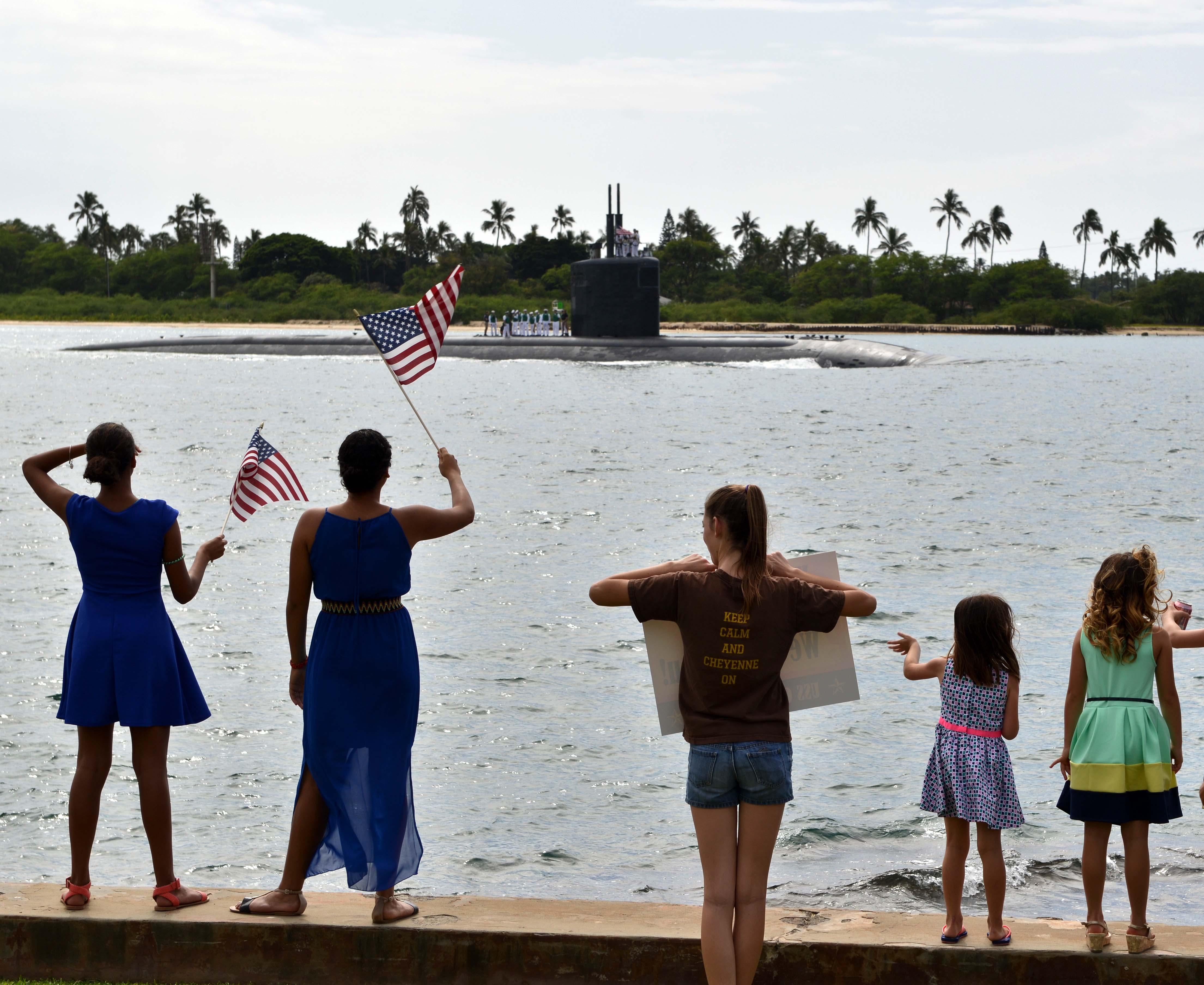 USS CHEYENNE SSN-773 Einlaufen Pearl Harbor am 05.02.2016 Bild: U.S. Navy