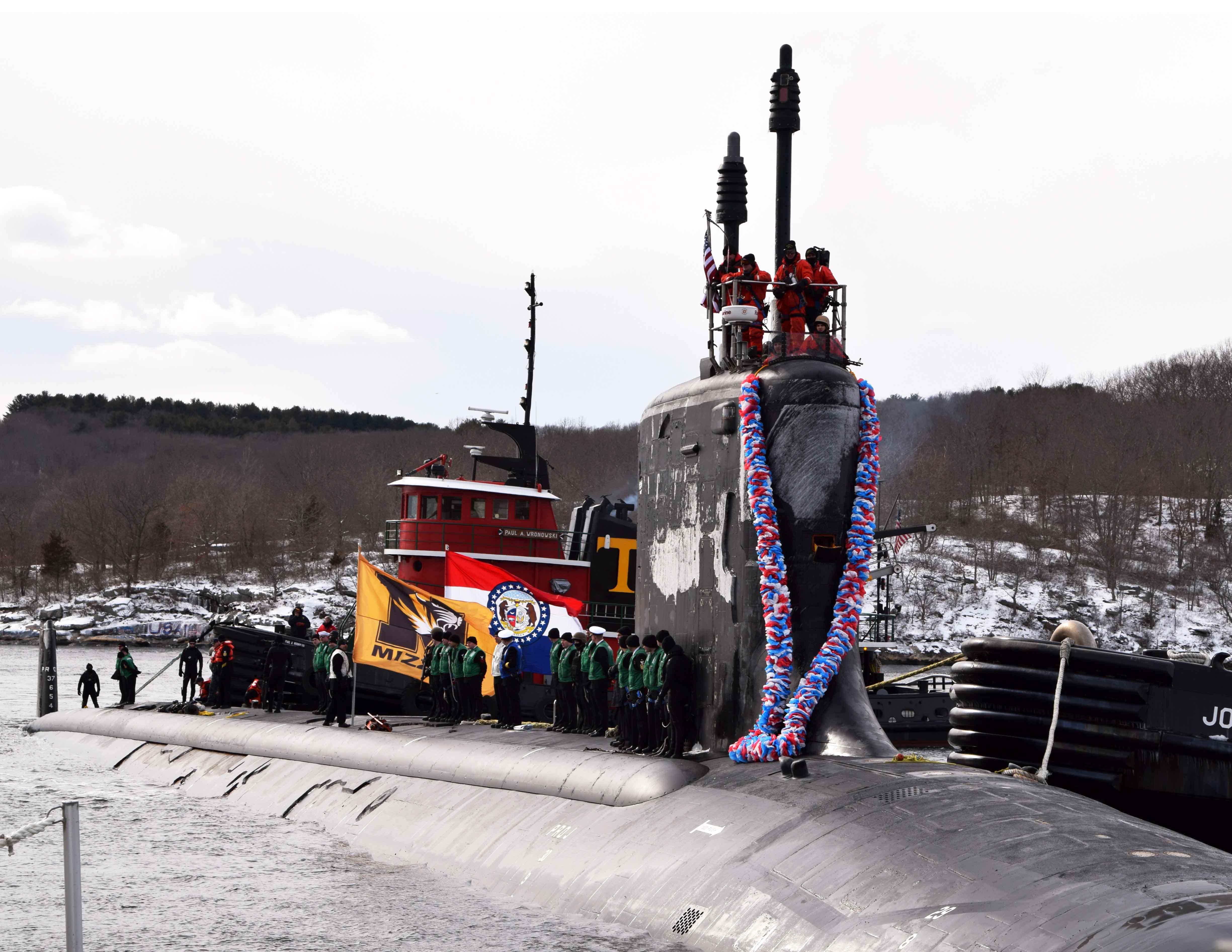 USS MISSOURI SSN-780 Einlaufen Groton am 12.02.2016 Bild: U.S. Navy